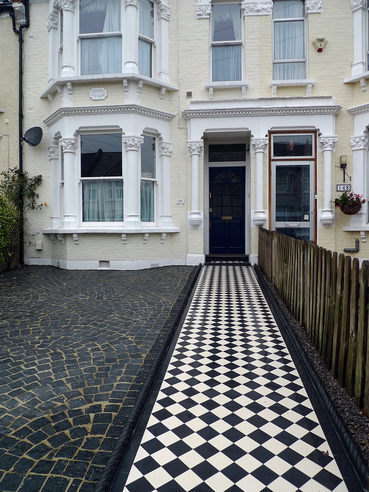 victorian black and white mosaic tile path granite driveway streatham london