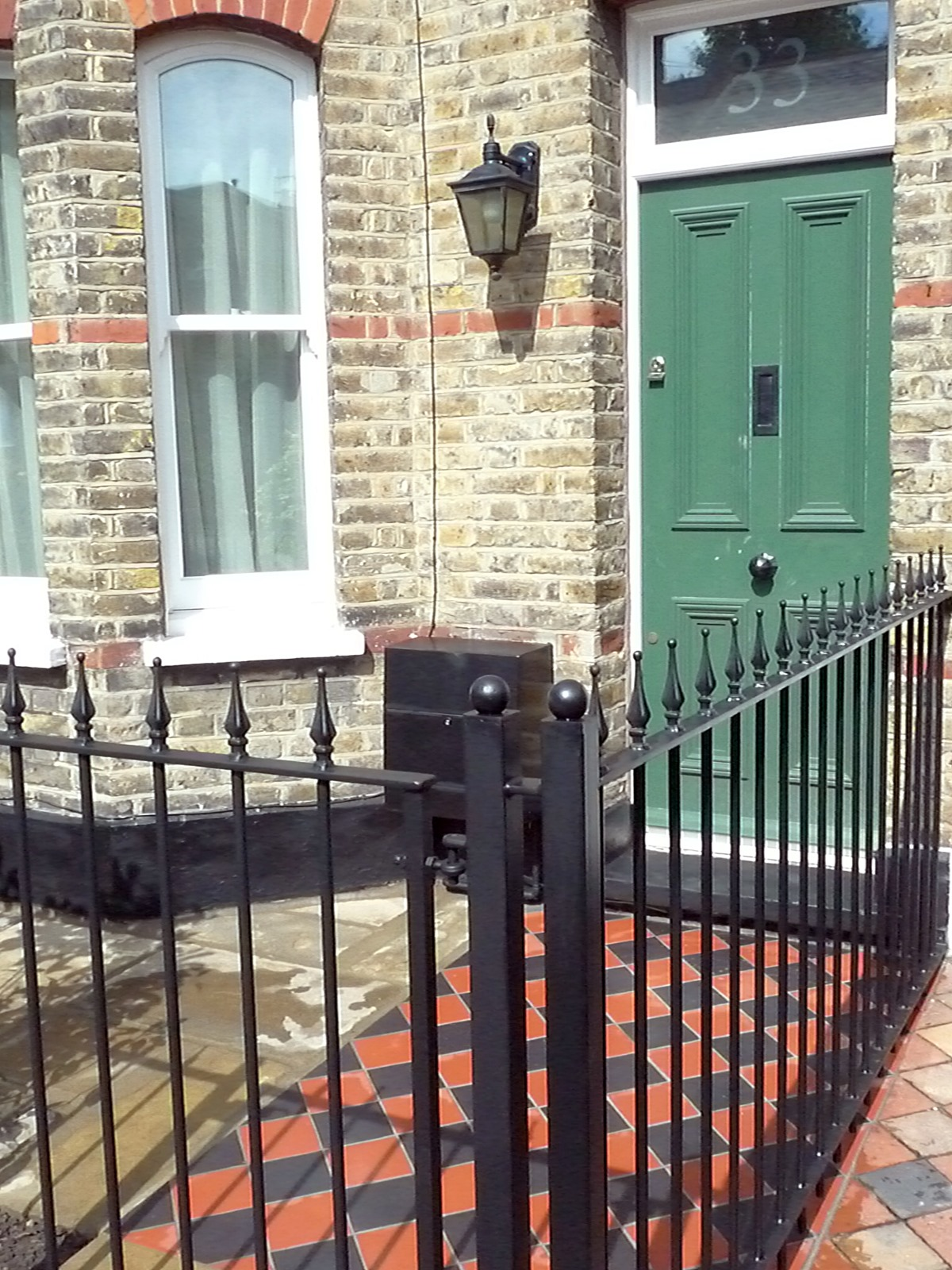 york stone wrought iron rails black and red terracota quarry mosaic victorian tiles camberwell london south east london (5)