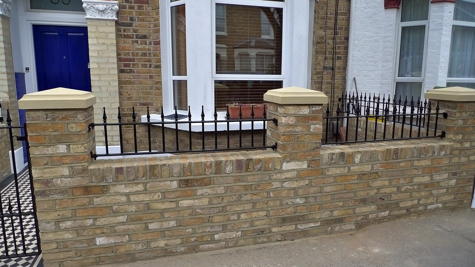 Dulwich And East Dulwich Victorian Black And White Mosaic Tile Path London Stock Brick Garden Wall Rails And Gate (3)