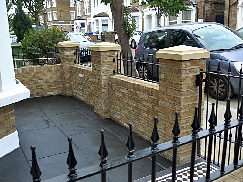 Dulwich And East Dulwich Victorian Black And White Mosaic Tile Path London Stock Brick Garden Wall Rails And Gate (6)
