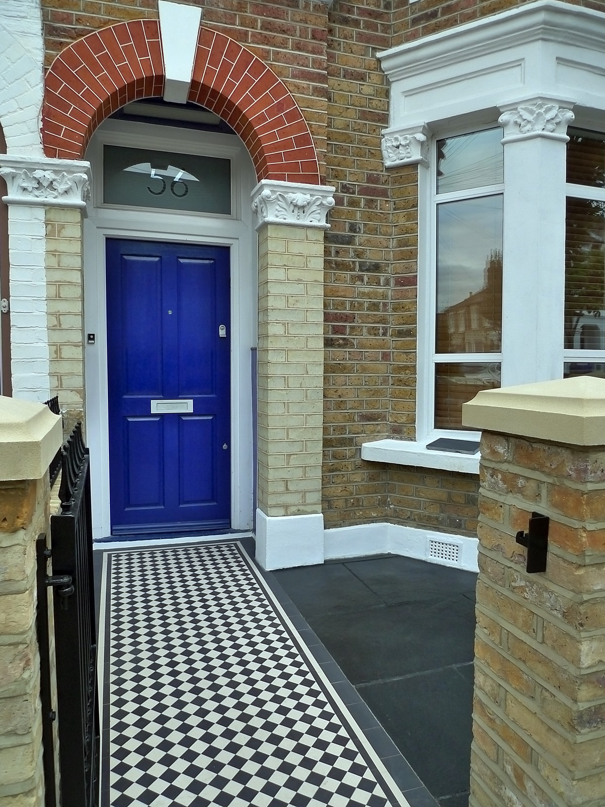 Dulwich And East Dulwich Victorian Black And White Mosaic Tile Path London Stock Brick Garden Wall Rails And Gate (8)