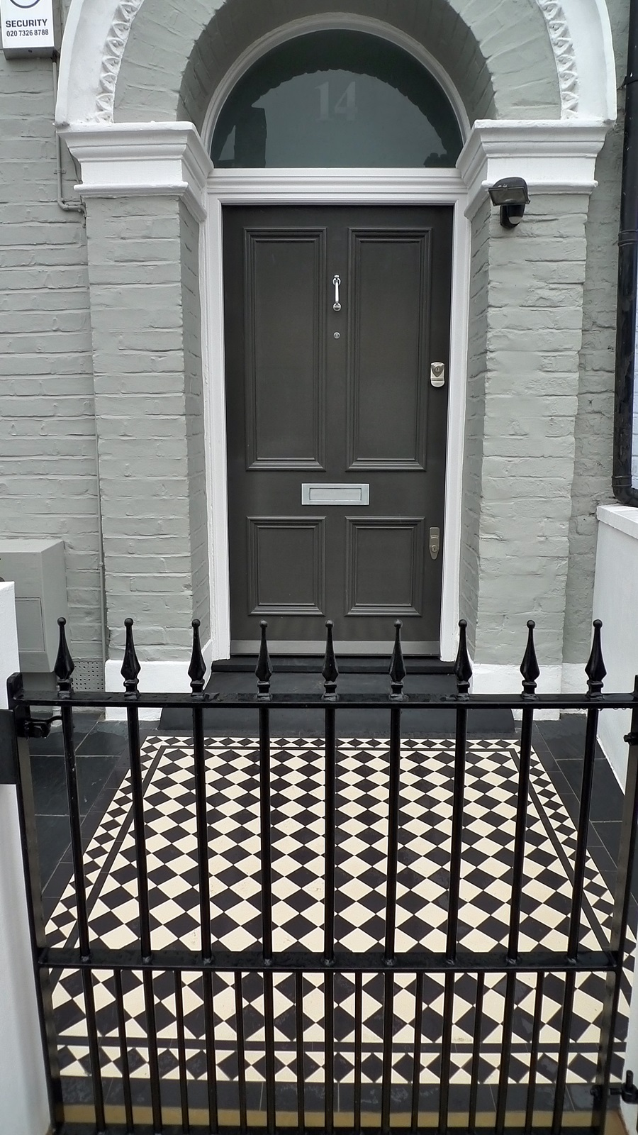 Victorian Mosaic tile path black and white 70mm tile with diamond border clapham batersea london (2)