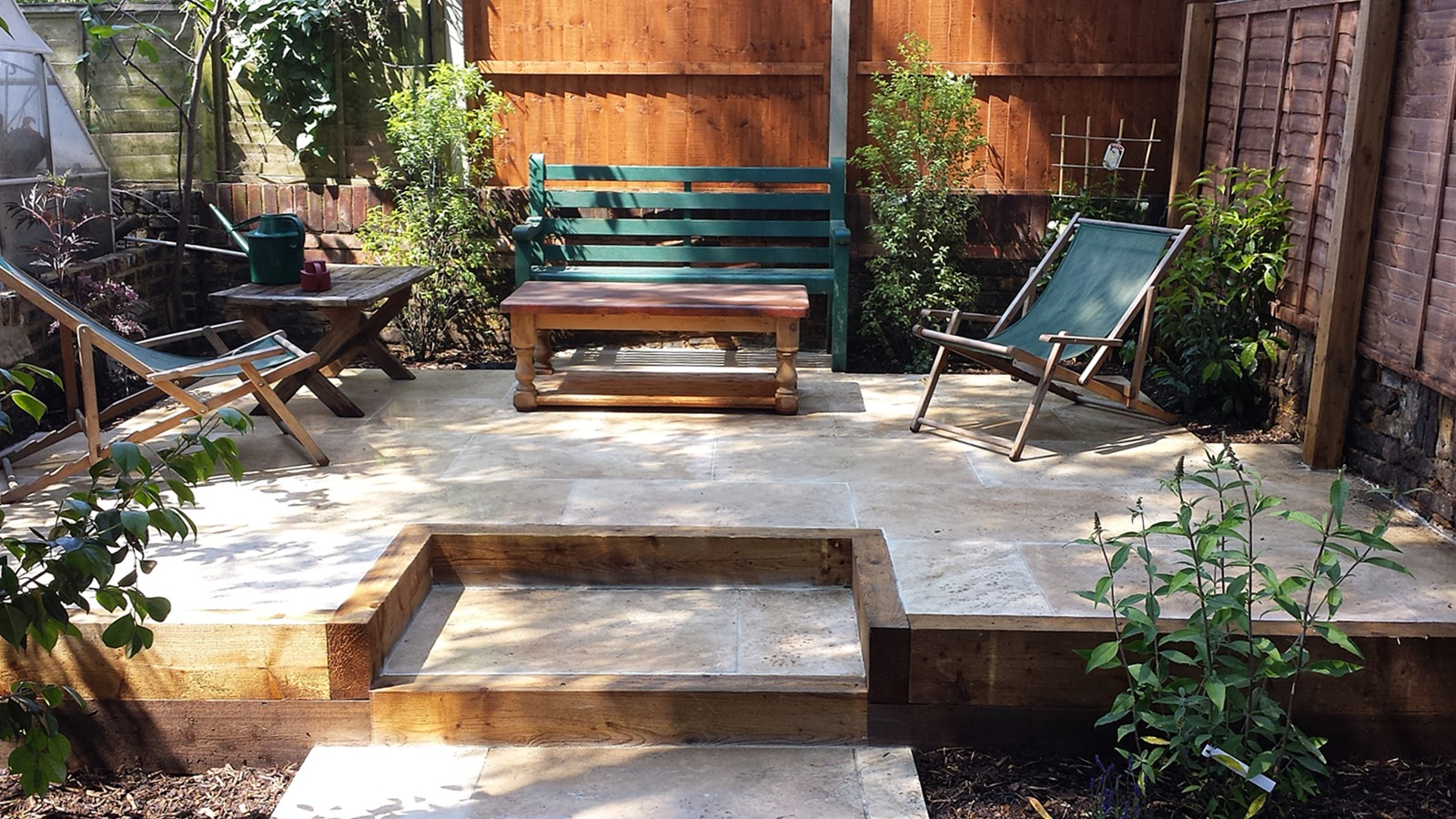 Travertine Paving Patio Modern Garden Design Landscaping ...