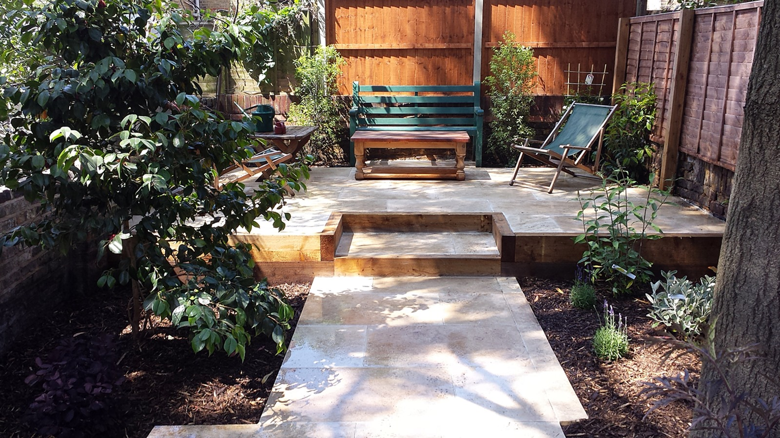 travertine paving patio garden wandsworth london raised beds modern contemporary design low maintenance (2)