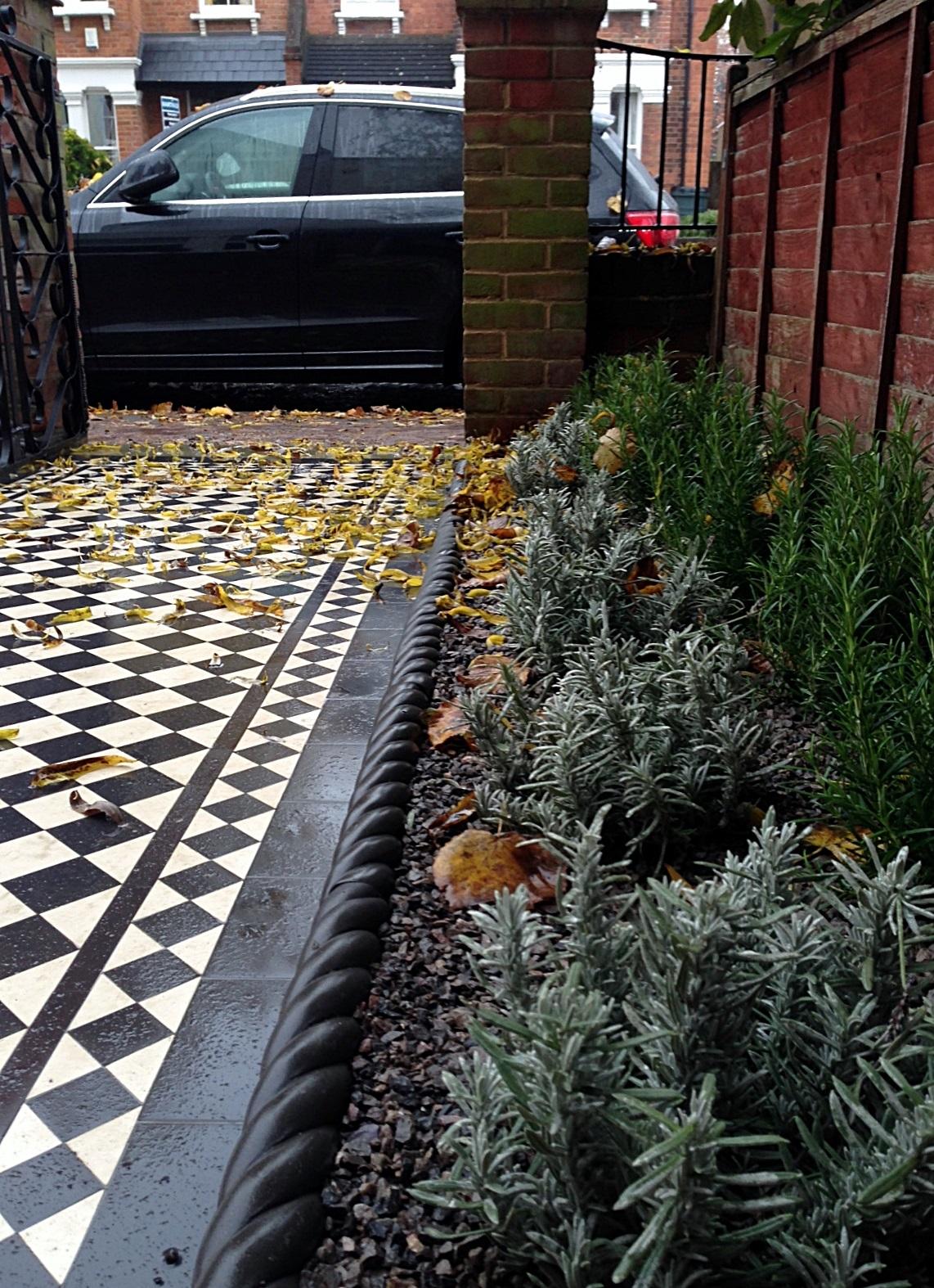 victroian black and white mosaic tile garden path paving formal planting buxus bay lavender edge tiles london (2)