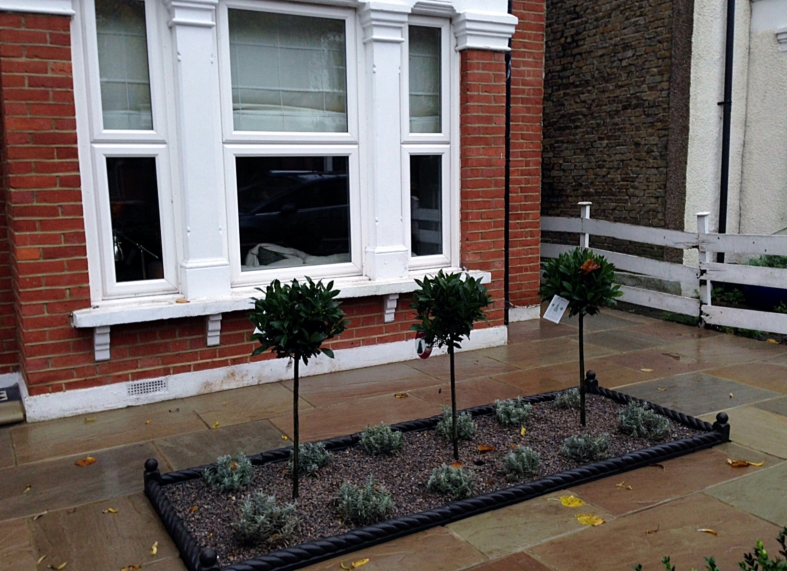 victroian charcoal rope edge tile sandstone paving bay trees and lavender clockhouse beckenham crystal palace london (1)