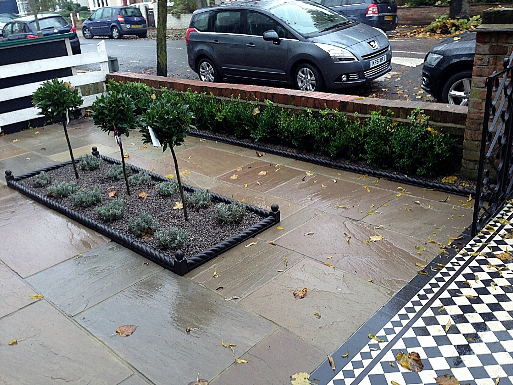 victroian charcoal rope edge tile sandstone paving bay trees and lavender clockhouse beckenham crystal palace london (3)