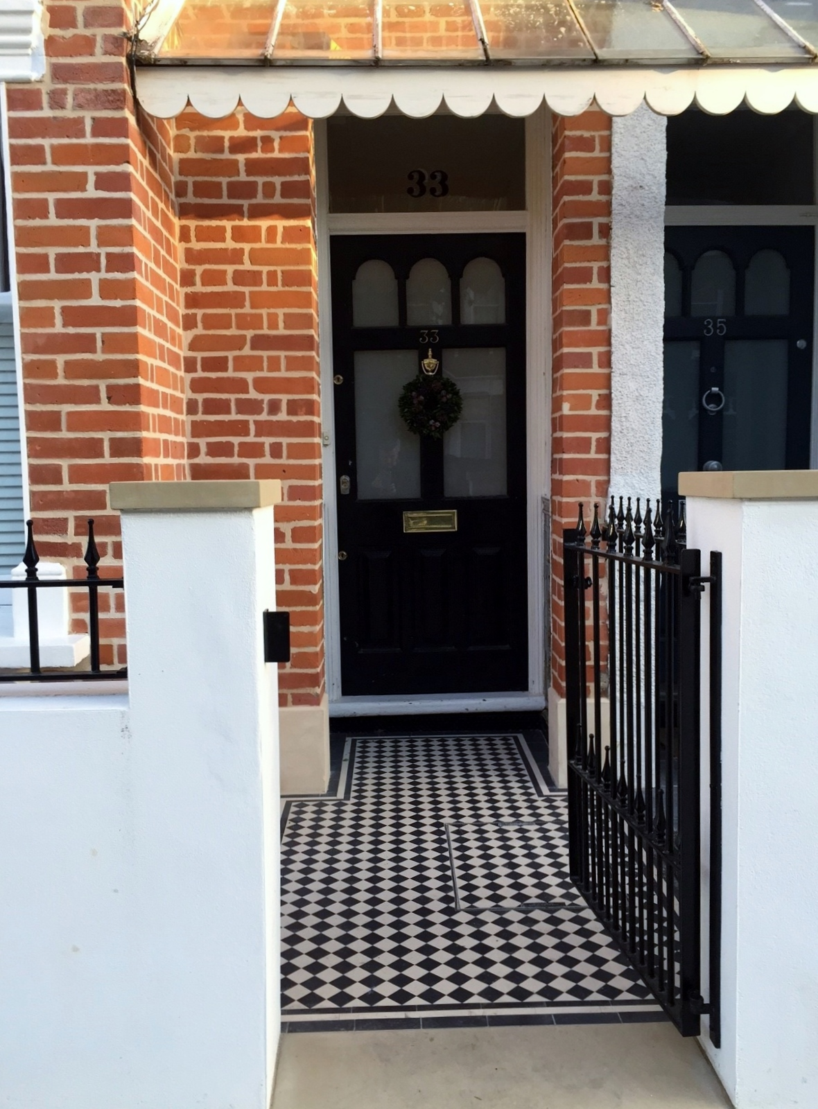 Balham Victorian Mosaic Tile Path Rendered Wall Yorkstone Pier And Coping Caps Metal Gate And Rail Clapham Dulwich London (1)