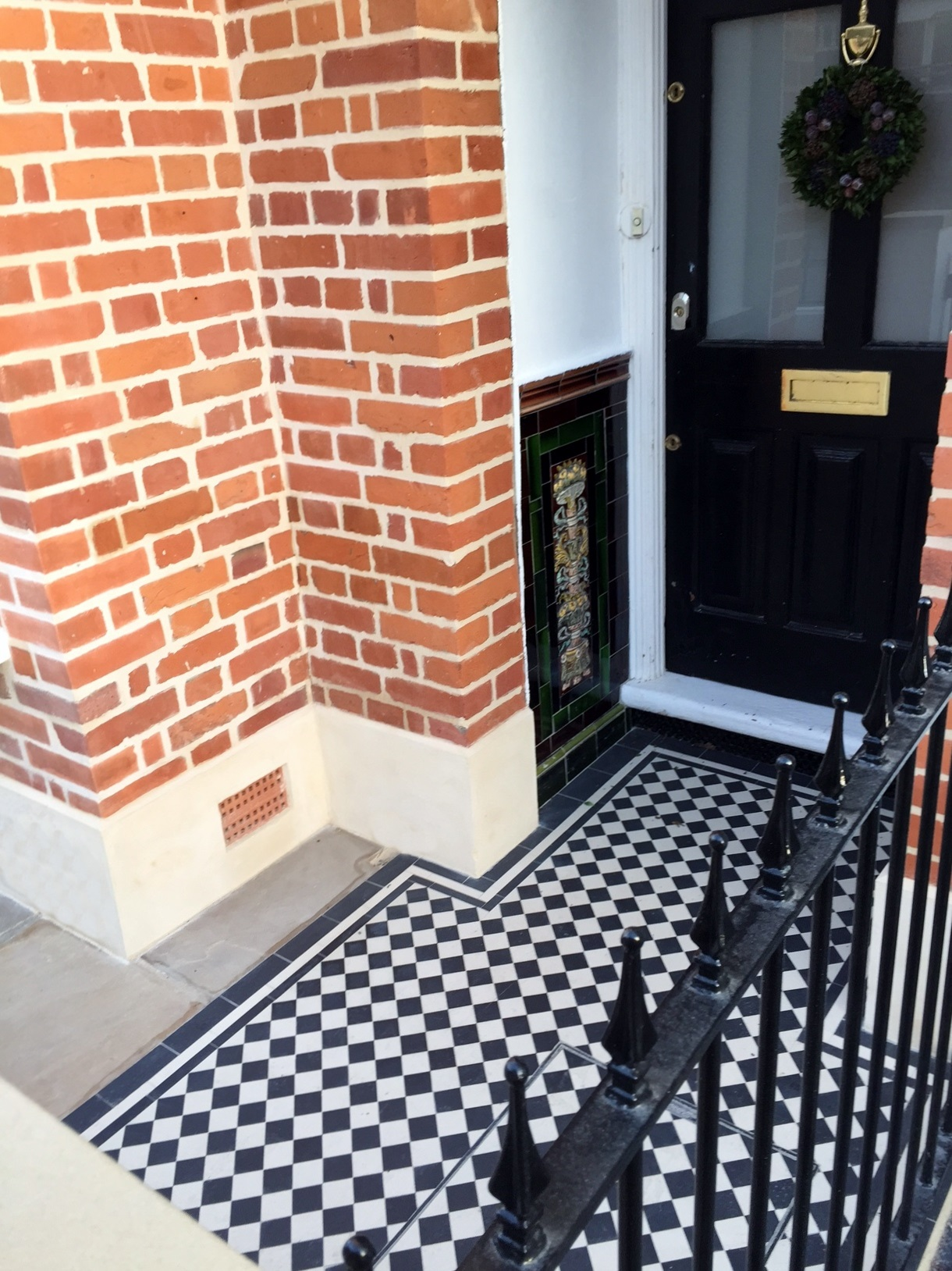 Balham Victorian Mosaic Tile Path Rendered Wall Yorkstone Pier And Coping Caps Metal Gate And Rail Clapham Dulwich London (11)