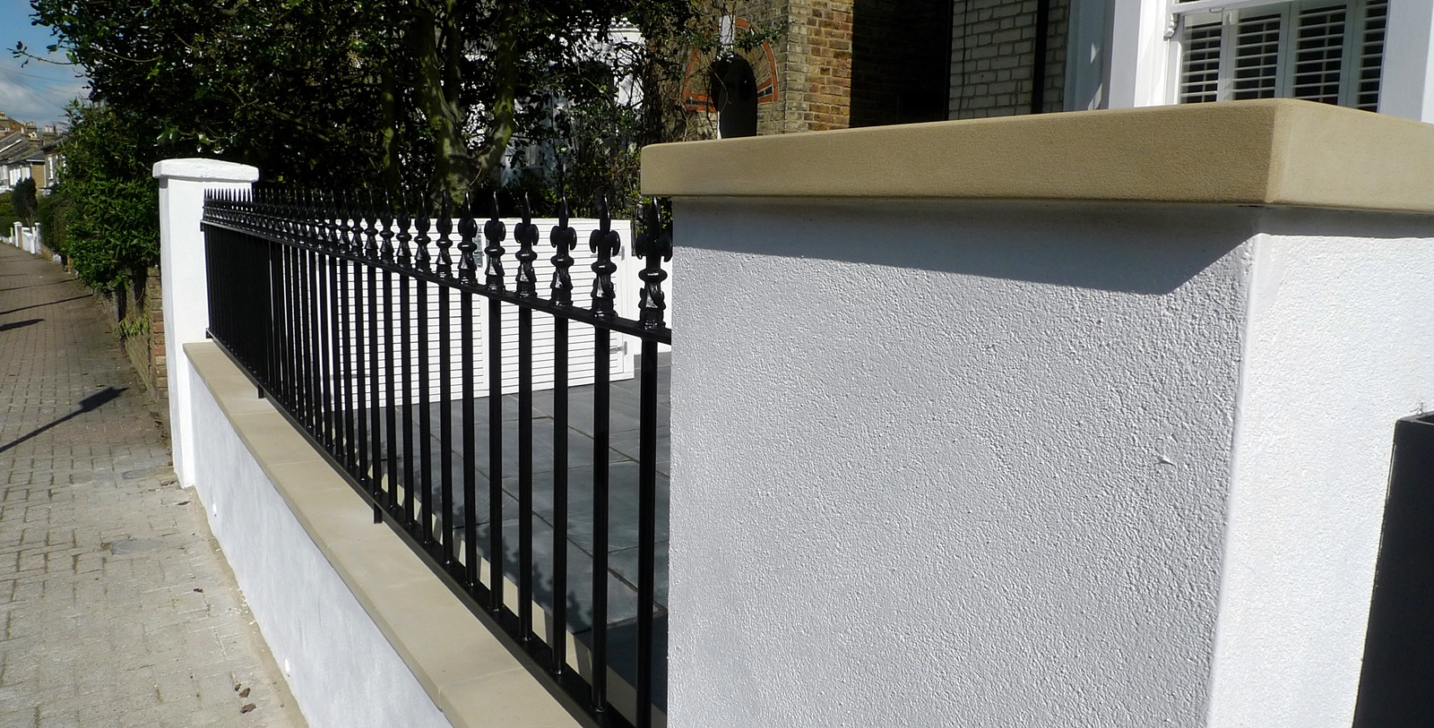 Front garden wall rail gate Victorian mosaic slate paving bespoke bin store York stone caps Balham Clapham Dulwich Tooting London (3)