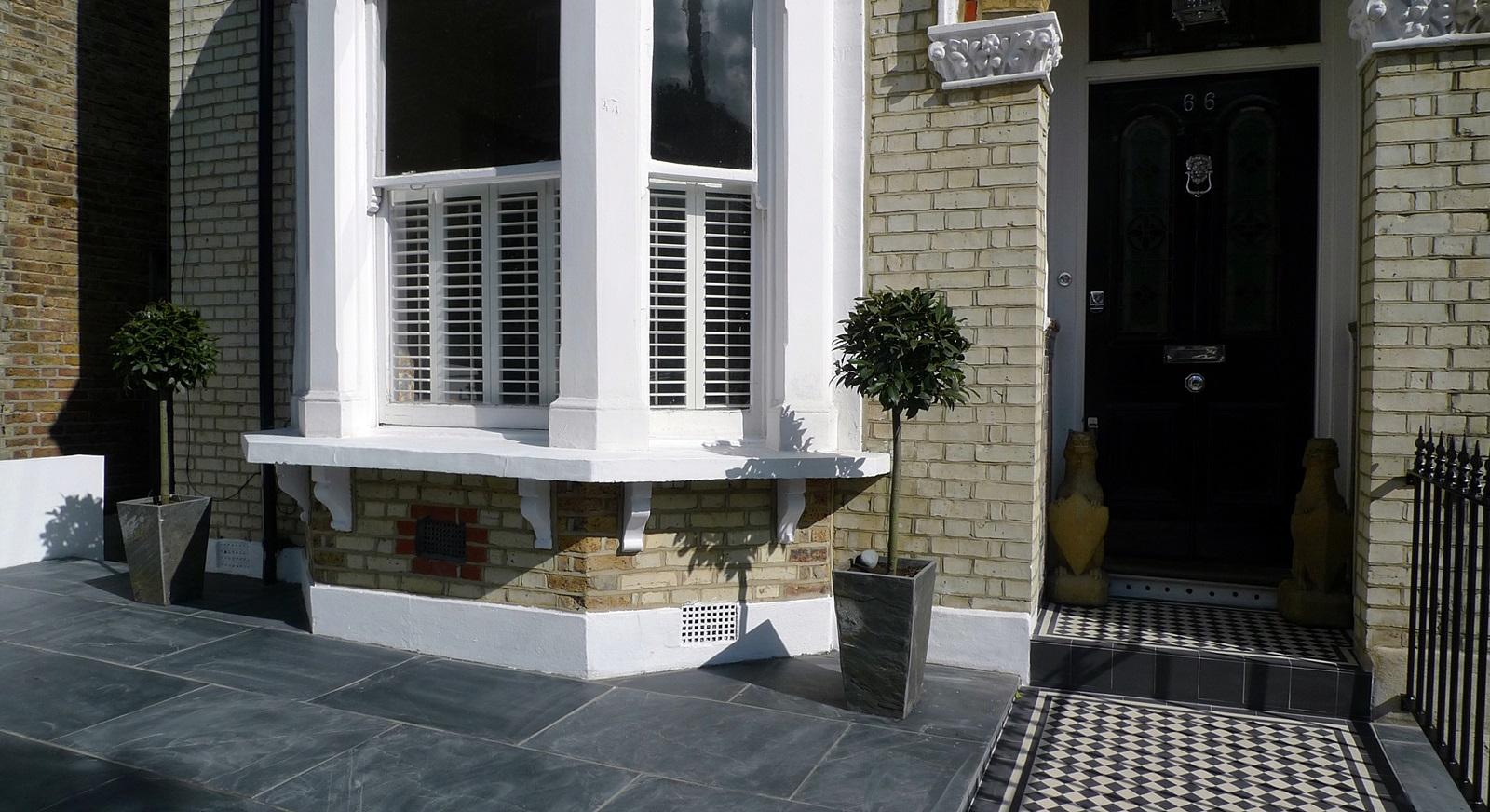 Front garden wall rail gate victorian mosaic slate paving for Victorian garden walls designs