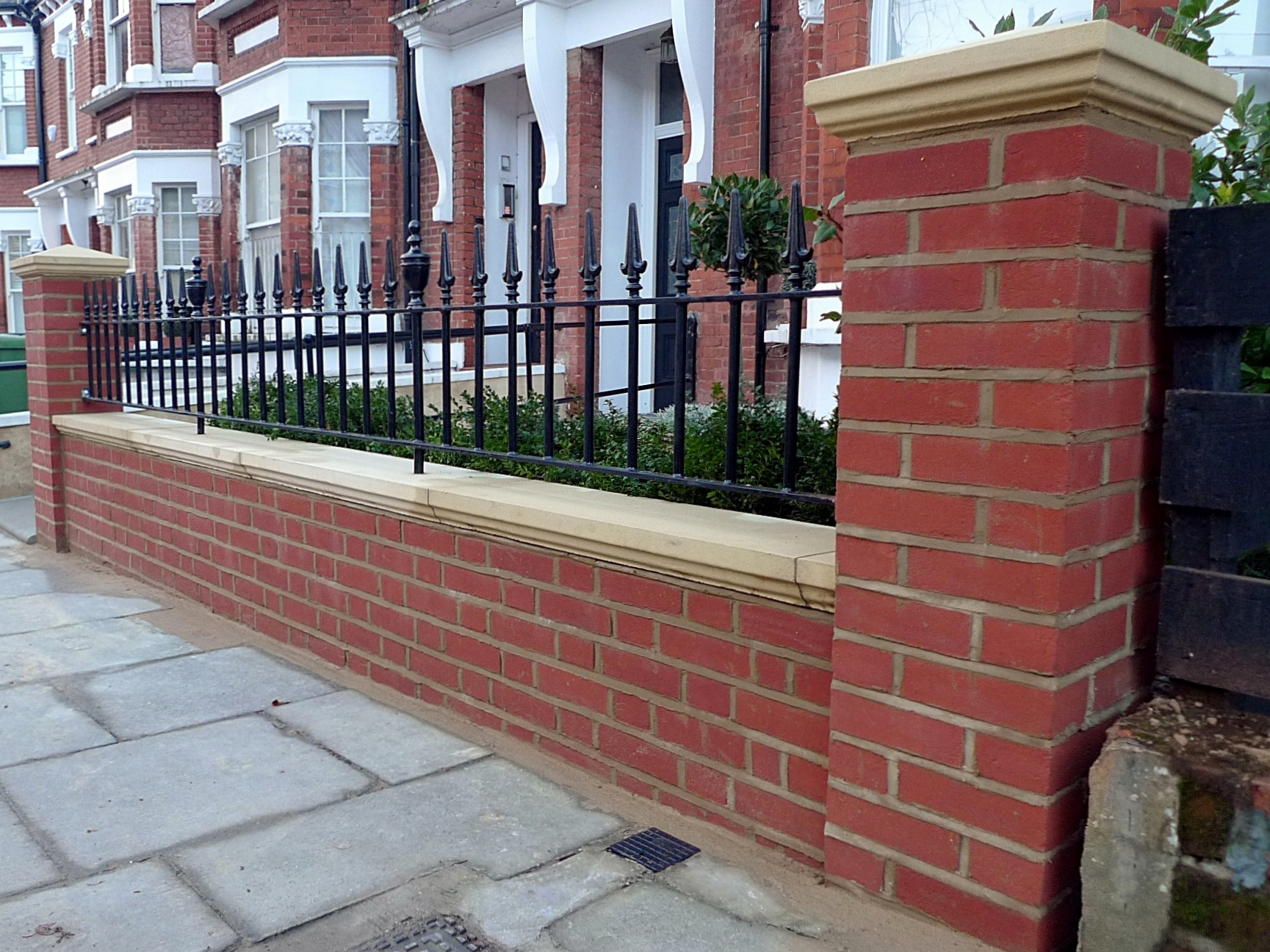 London Red Brick Wall Stone Caps Imperial Rail Victorian Mosaic Path Buxus Planting Hampstead West London (1)