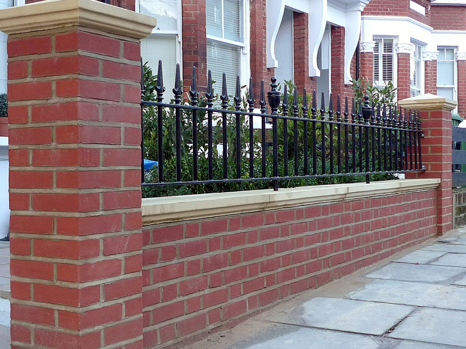 London Red Brick Wall Stone Caps Imperial Rail Victorian Mosaic Path Buxus Planting Hampstead West London (11)