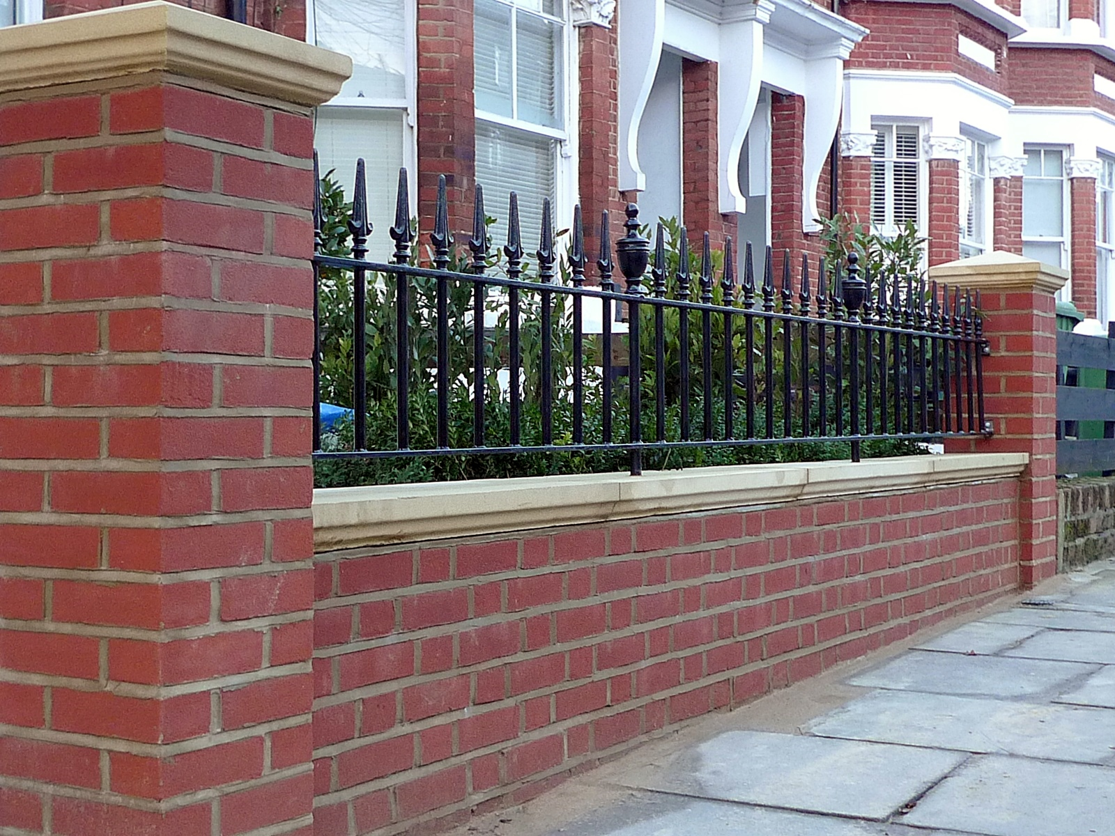 London Red Brick Wall Stone Caps Imperial Rail Victorian Mosaic Path Buxus Planting Hampstead West London (12)