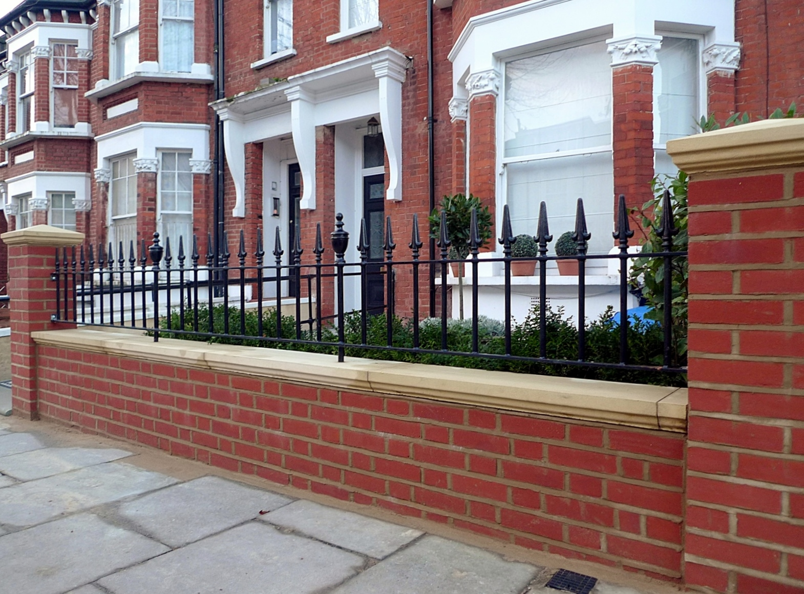 London Red Brick Wall Stone Caps Imperial Rail Victorian Mosaic Path Buxus Planting Hampstead West London (2)