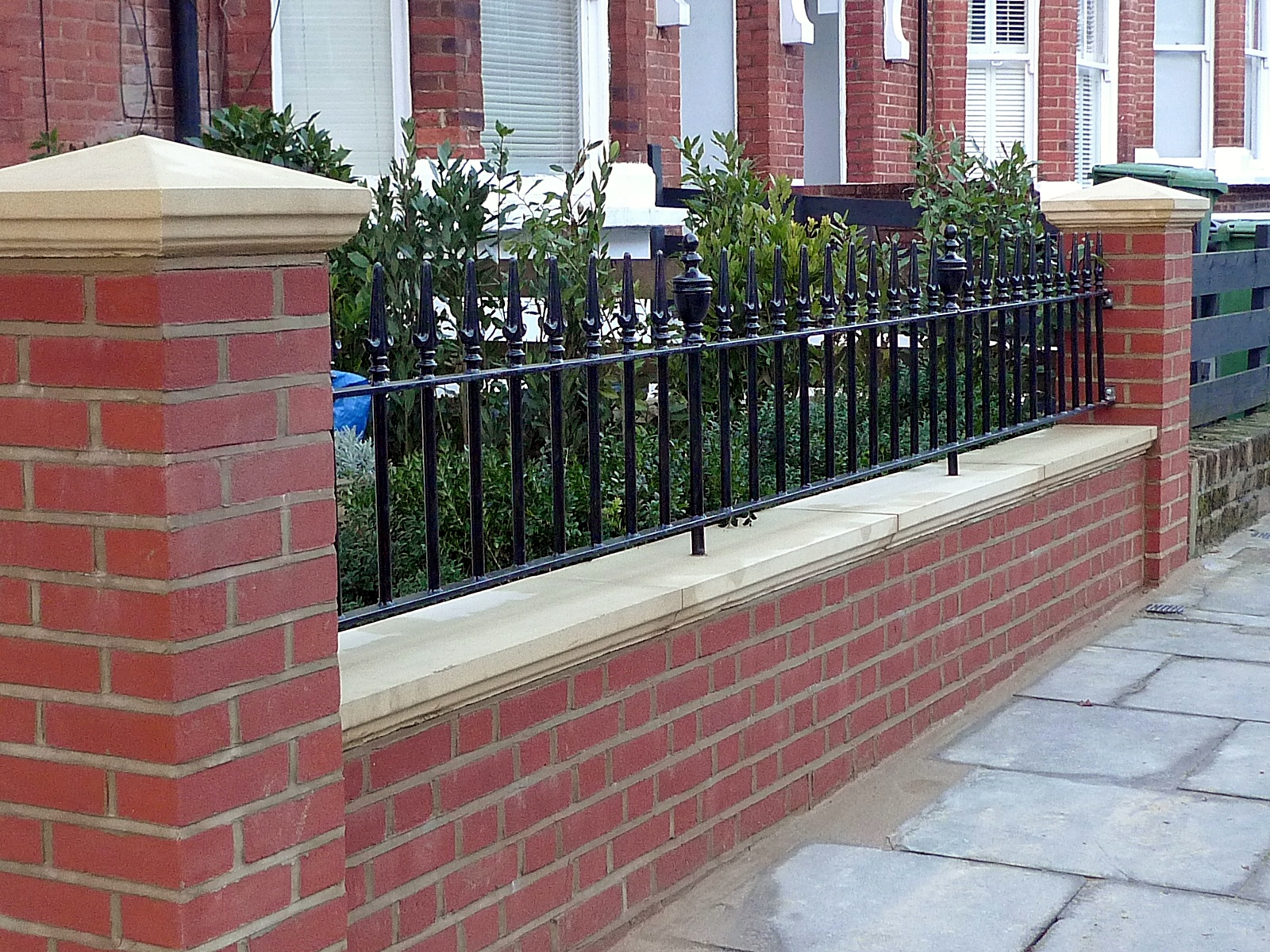 London Red Brick Wall Stone Caps Imperial Rail Victorian Mosaic Path Buxus Planting Hampstead West London (22)