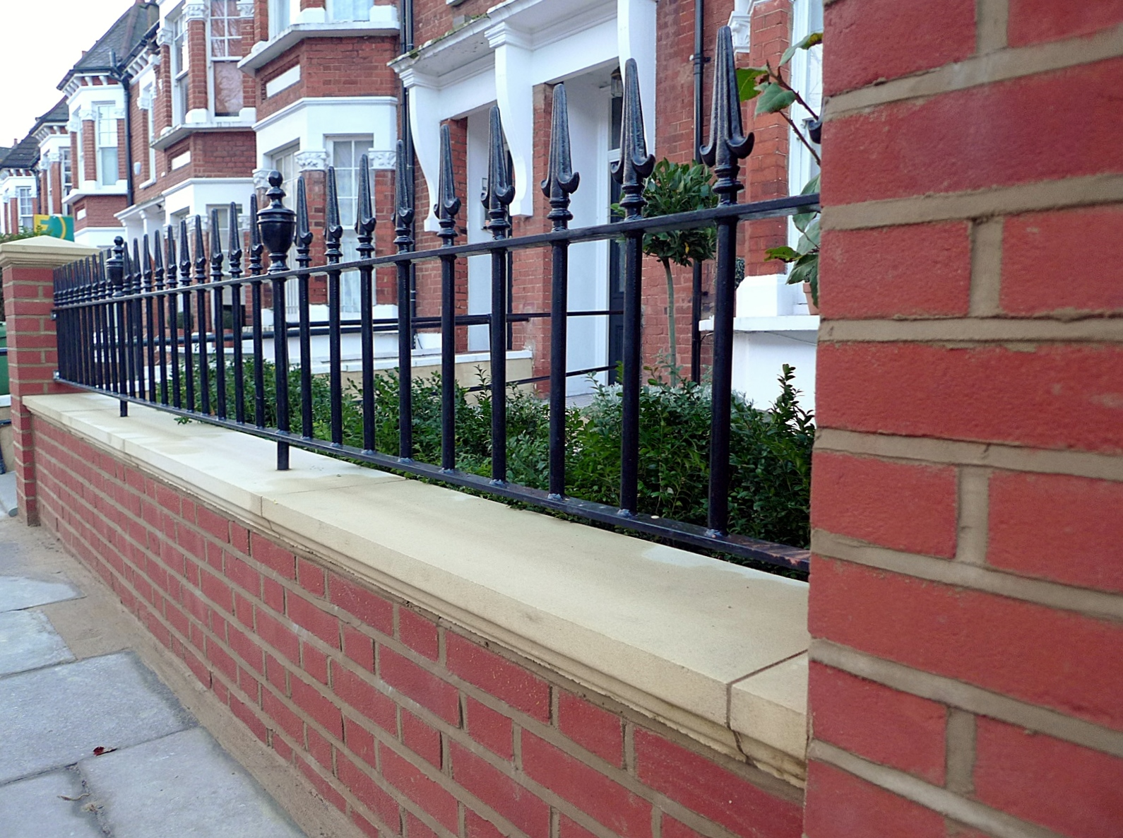 London Red Brick Wall Stone Caps Imperial Rail Victorian Mosaic Path Buxus Planting Hampstead West London (3)