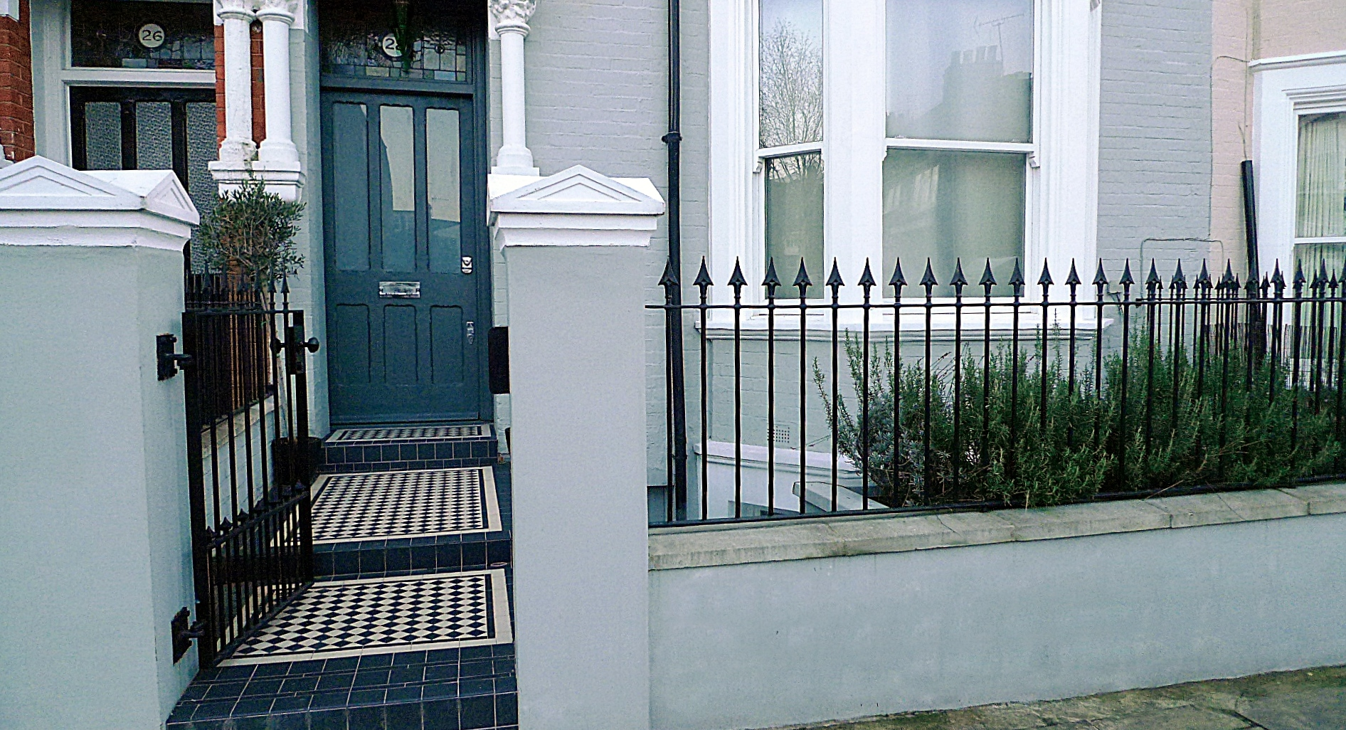 Victorian Mosaic Tile Path Wall Rail Gate Grey Theme Kensington Fulham Chelsea London (2)