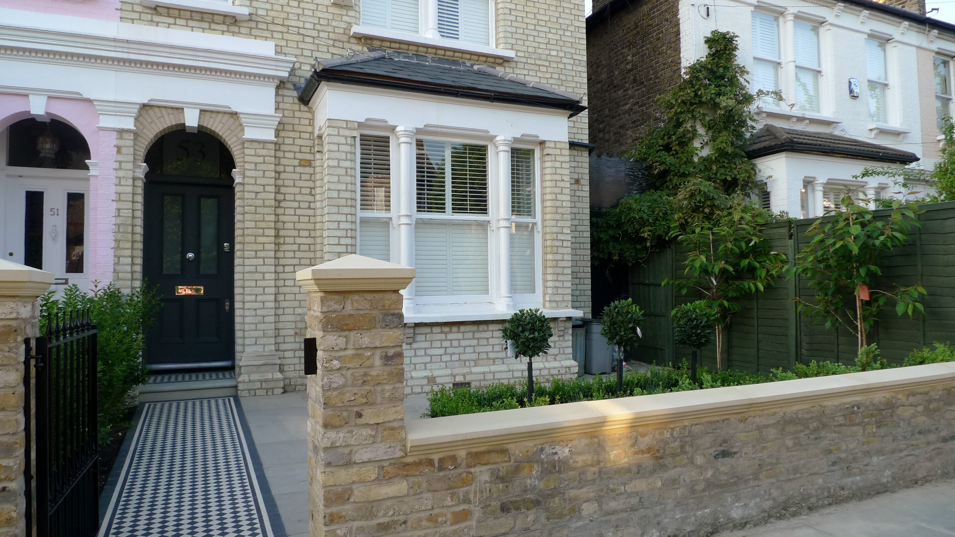 Balham clapham classic victorian front garden yellow brick for Classic house fronts