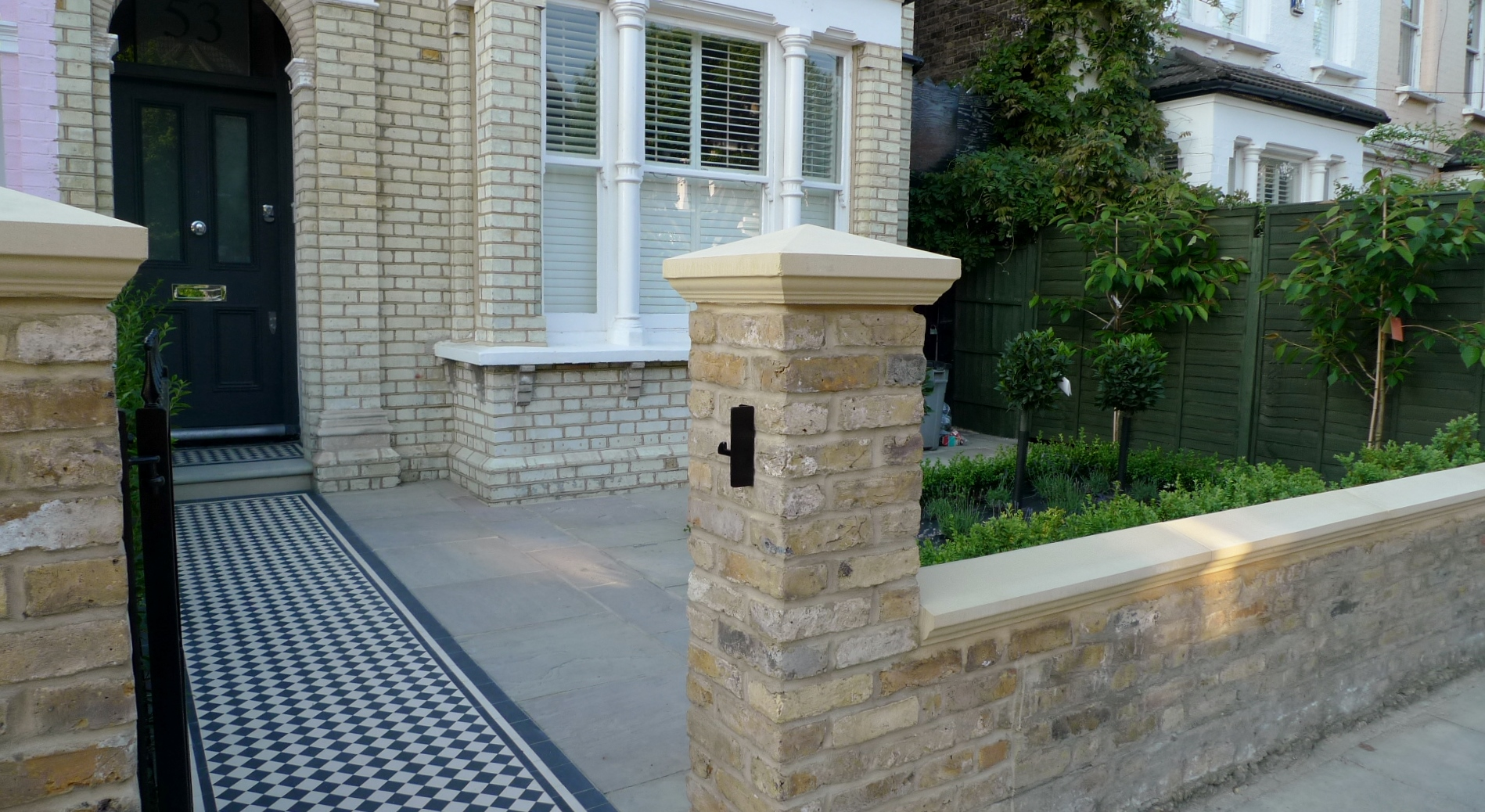 balham clapham classic victorian front garden yellow brick wall with black and white victorian mosaic york stone caps london  (18)