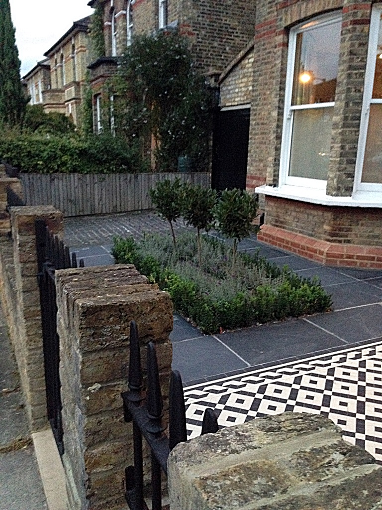 black and white victorian mosaic tile garden path slate paving yellow stock brick wall dulwich peckham herne hill london (2)