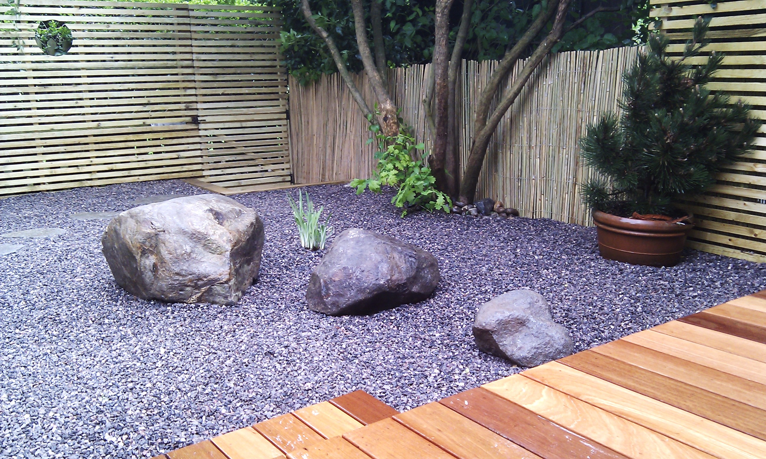 hardwood decking minimalist limestone chippings privacy screen south east london (27)
