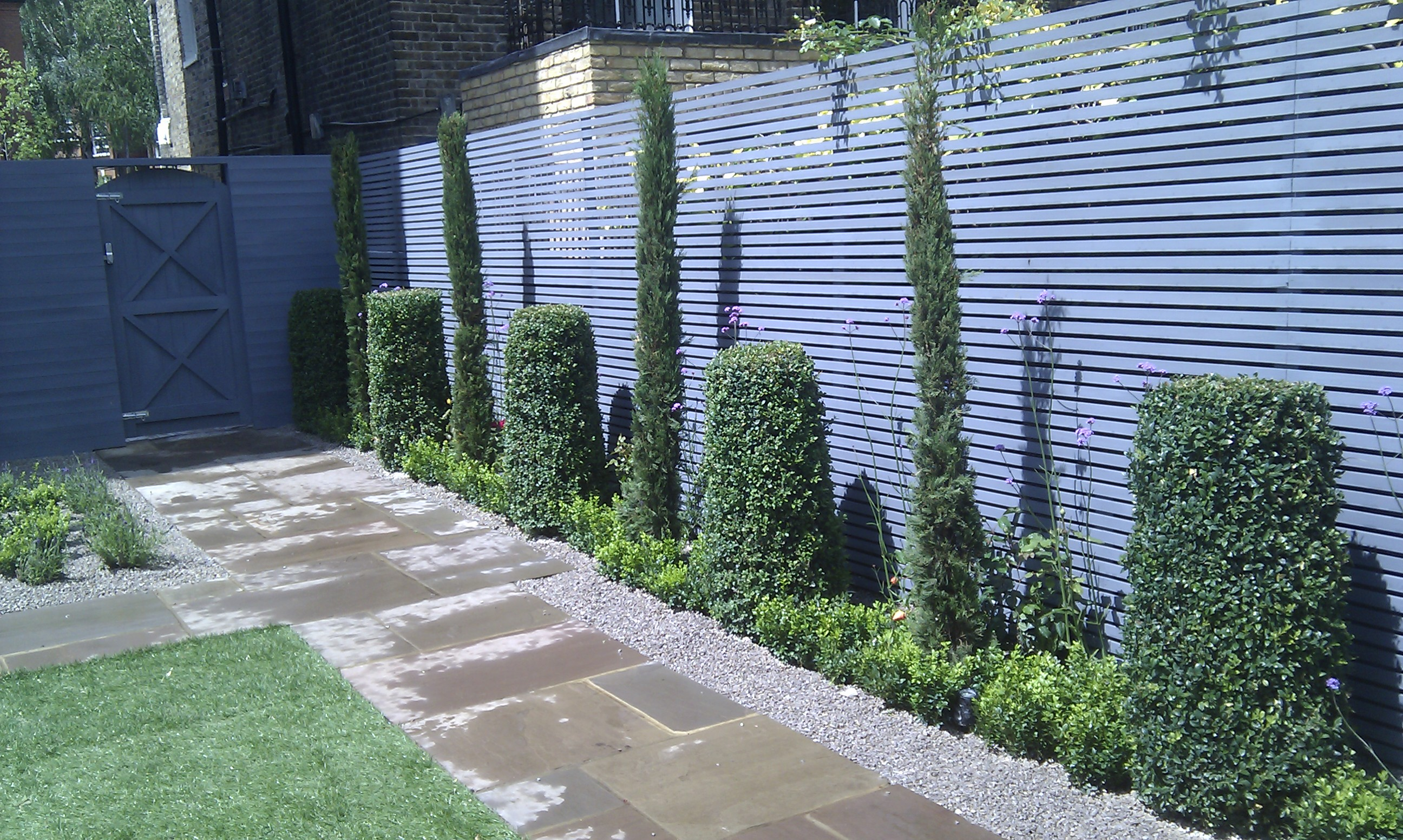 modern style garden fence hardwood grey slatted trellis screen