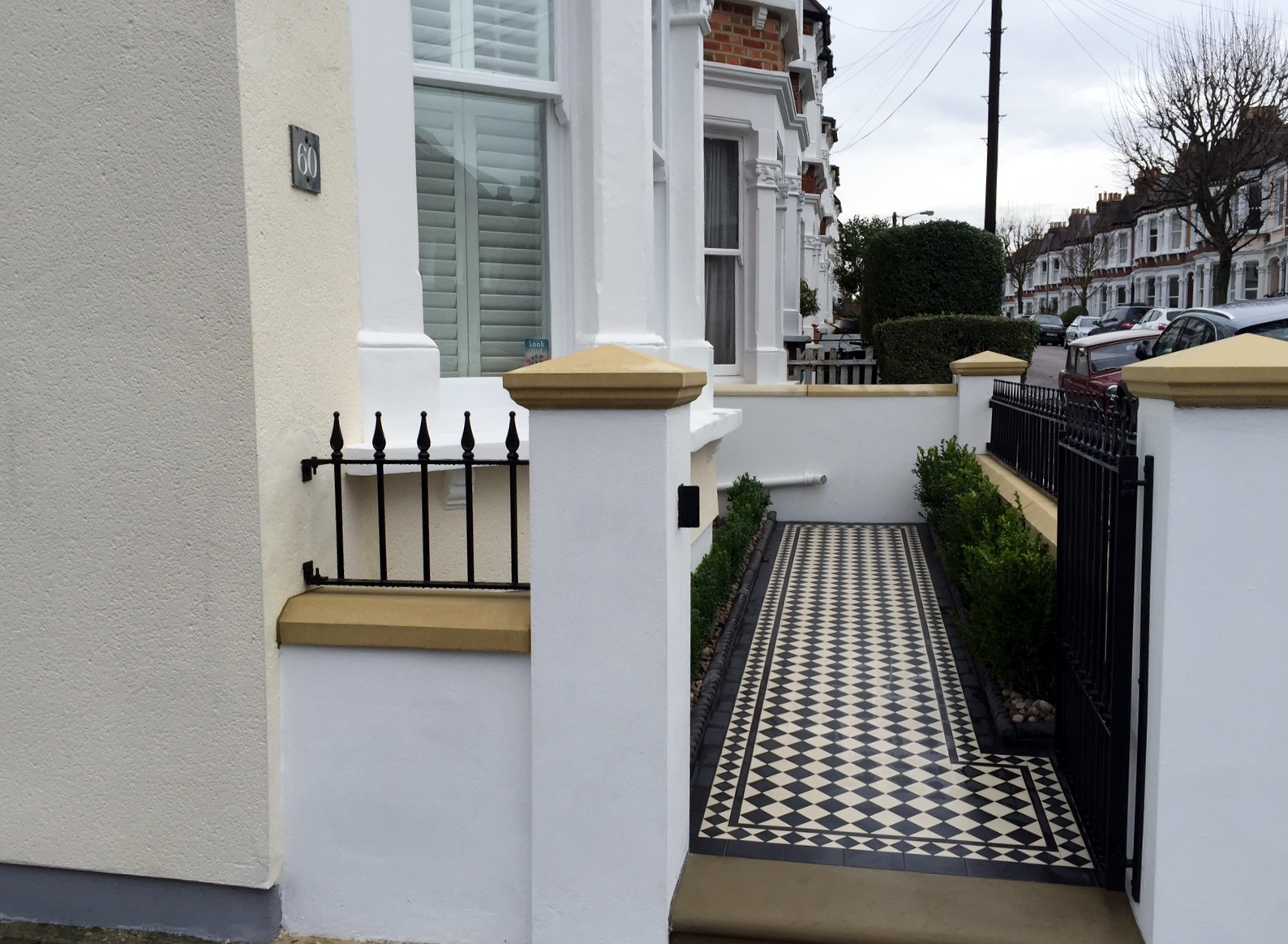 victorian black and white mosaic tile path wall rail gate caps coping balham dulwich battersea clapham  london (10)