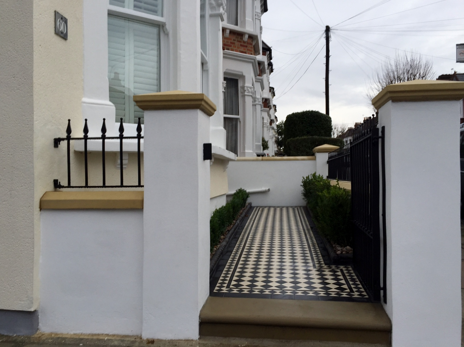 victorian black and white mosaic tile path wall rail gate caps coping balham dulwich battersea clapham  london (12)
