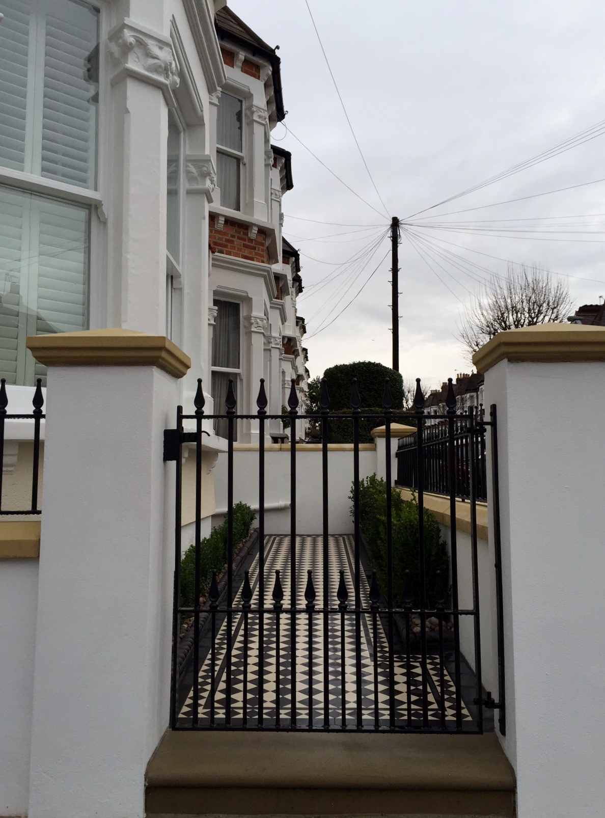 victorian black and white mosaic tile path wall rail gate caps coping balham dulwich battersea clapham  london (5)