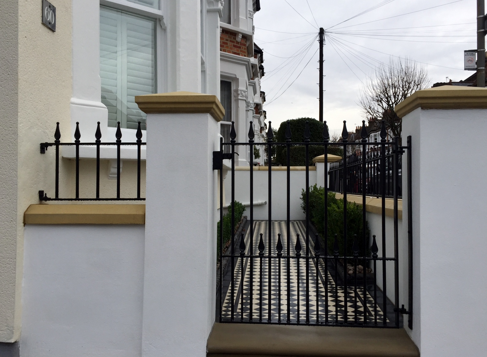 victorian black and white mosaic tile path wall rail gate caps coping balham dulwich battersea clapham  london (6)