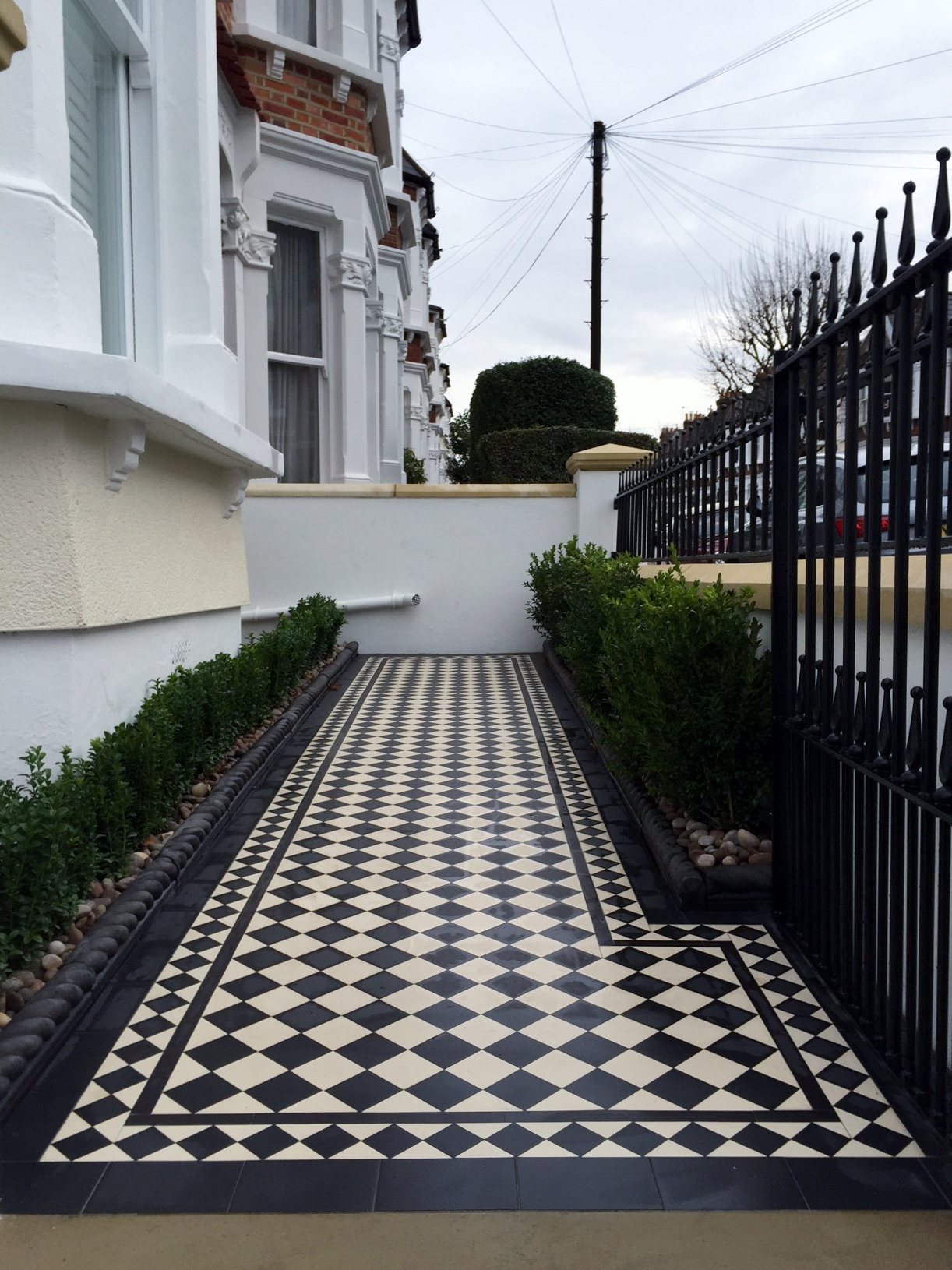 victorian black and white mosaic tile path wall rail gate caps coping balham dulwich battersea clapham  london (7)