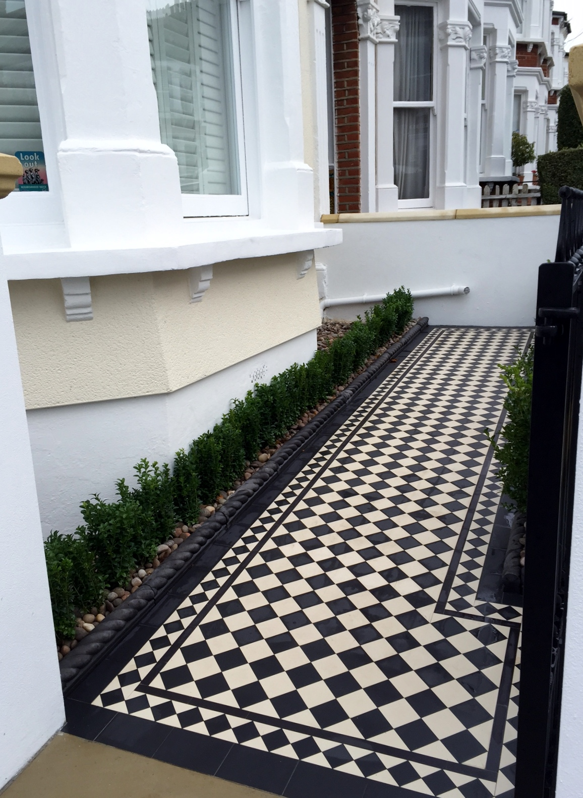 victorian black and white mosaic tile path wall rail gate caps coping balham dulwich battersea clapham  london (8)