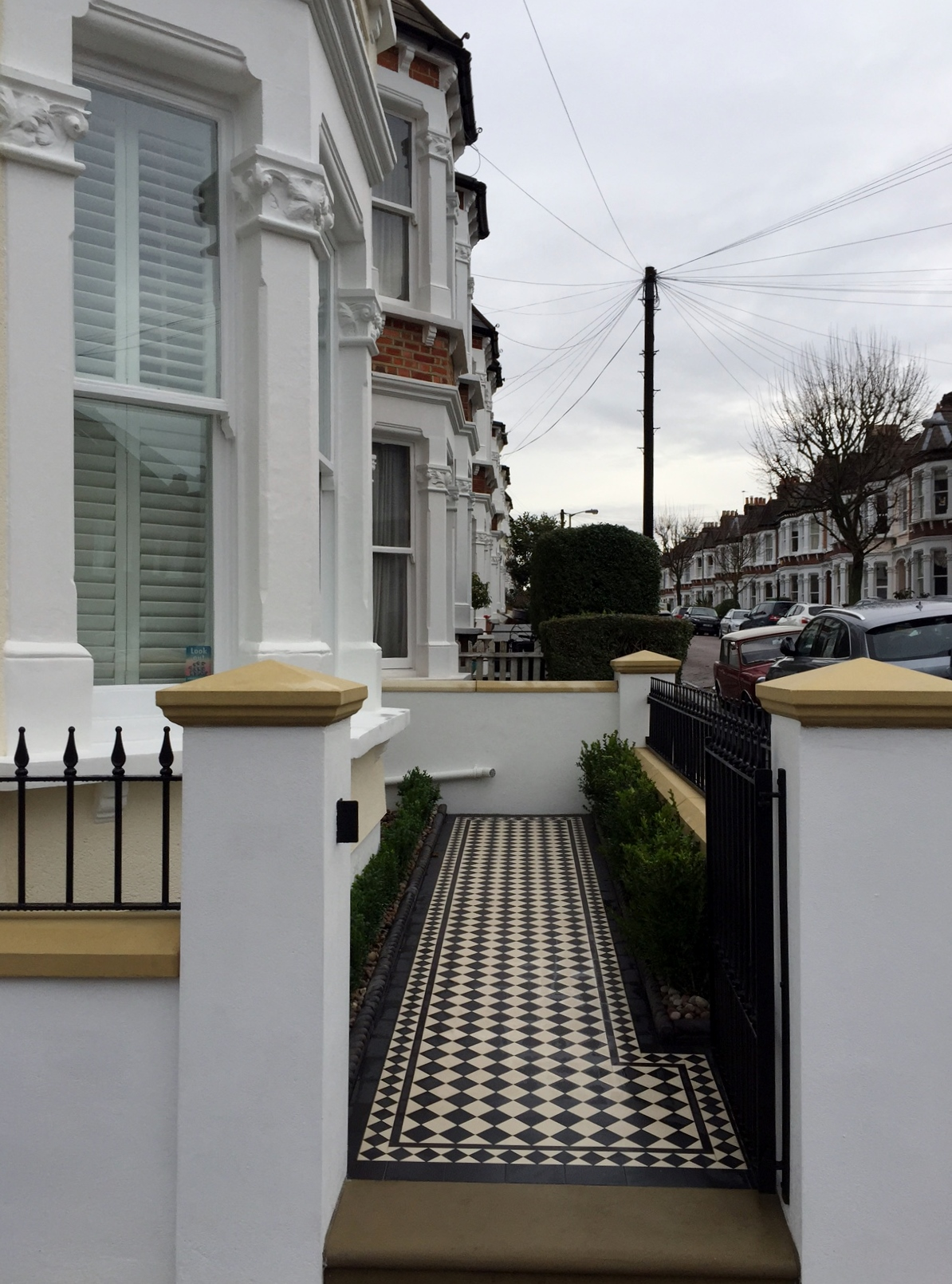 victorian black and white mosaic tile path wall rail gate caps coping balham dulwich battersea clapham  london (9)