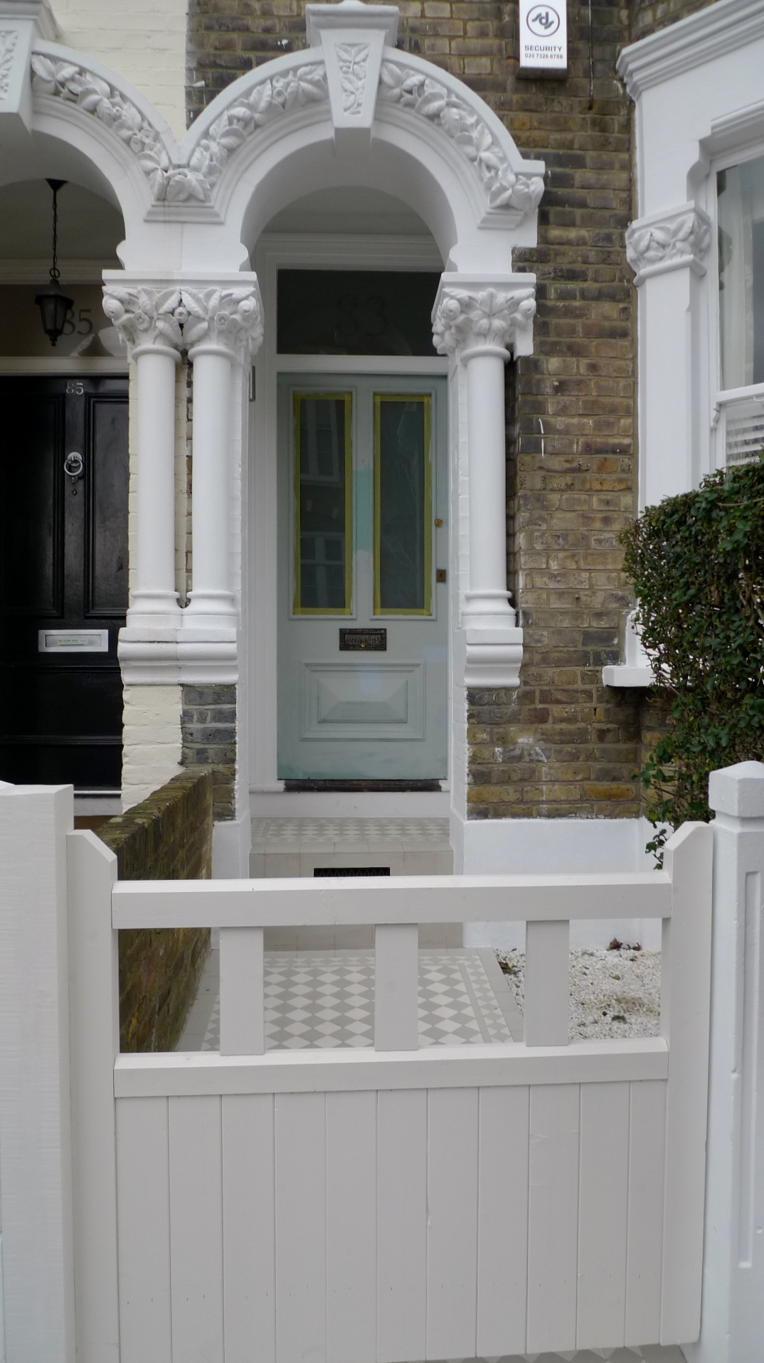 off white london front garden gate york stone and grey and white mosaic tile path