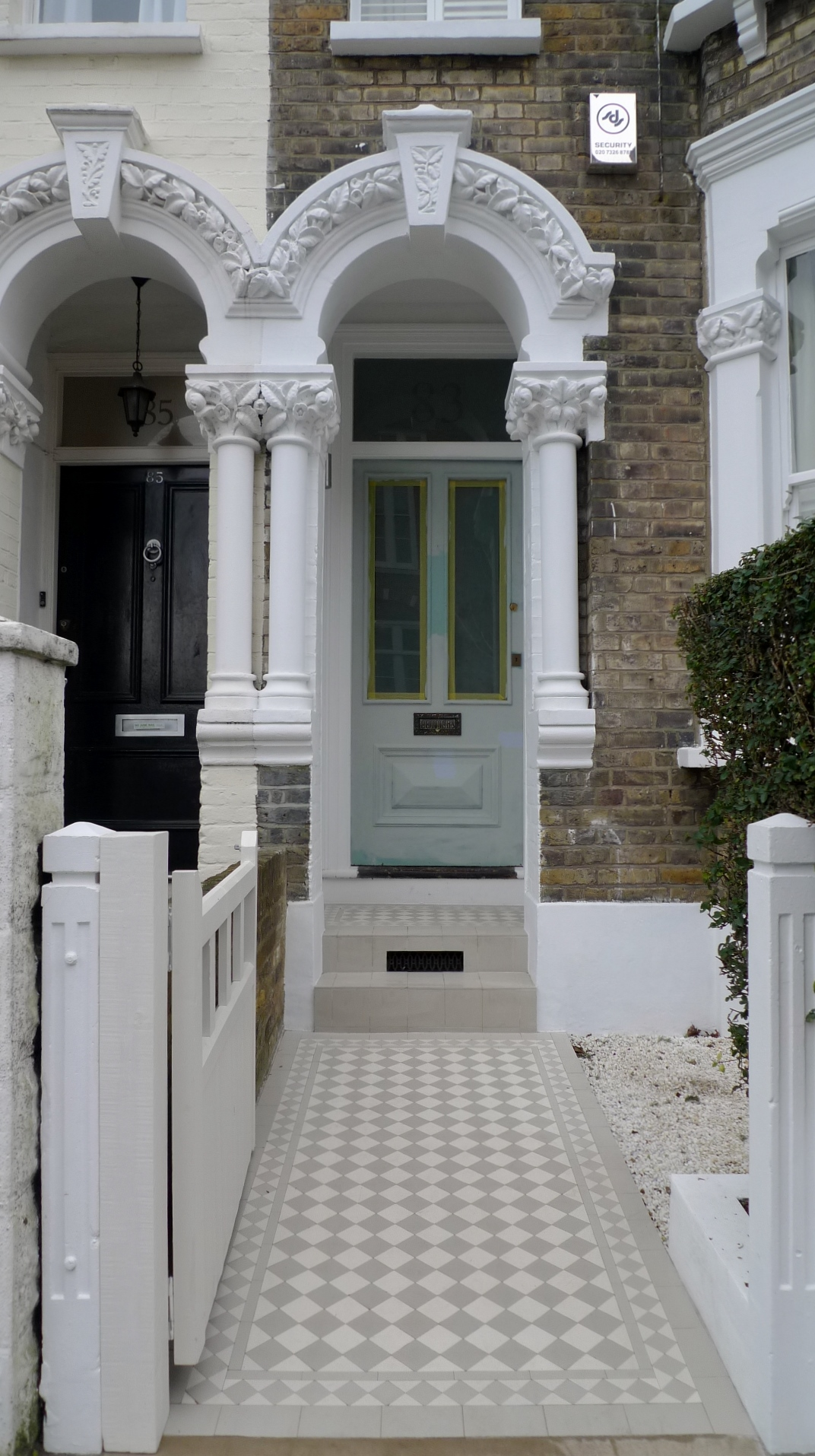 victorian mosaic tile path grey and white diamond design clapham battersea london