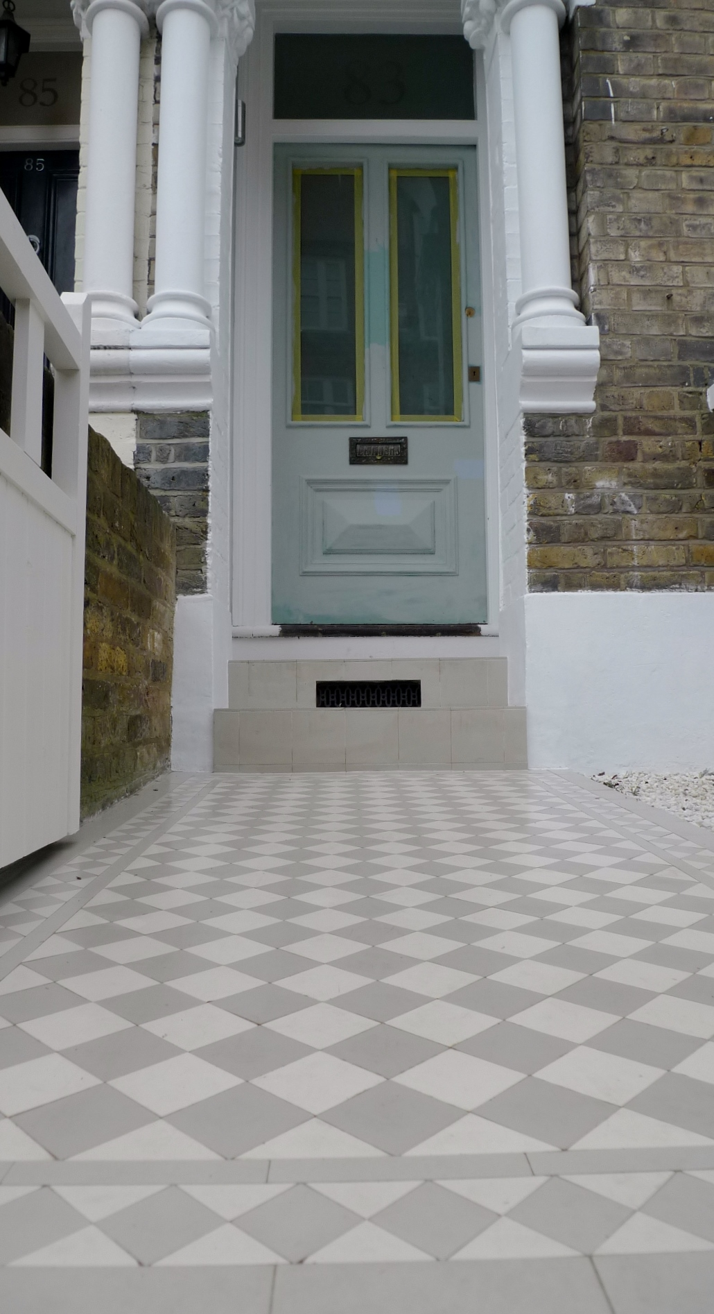victroian grey and white mosaic clapham london