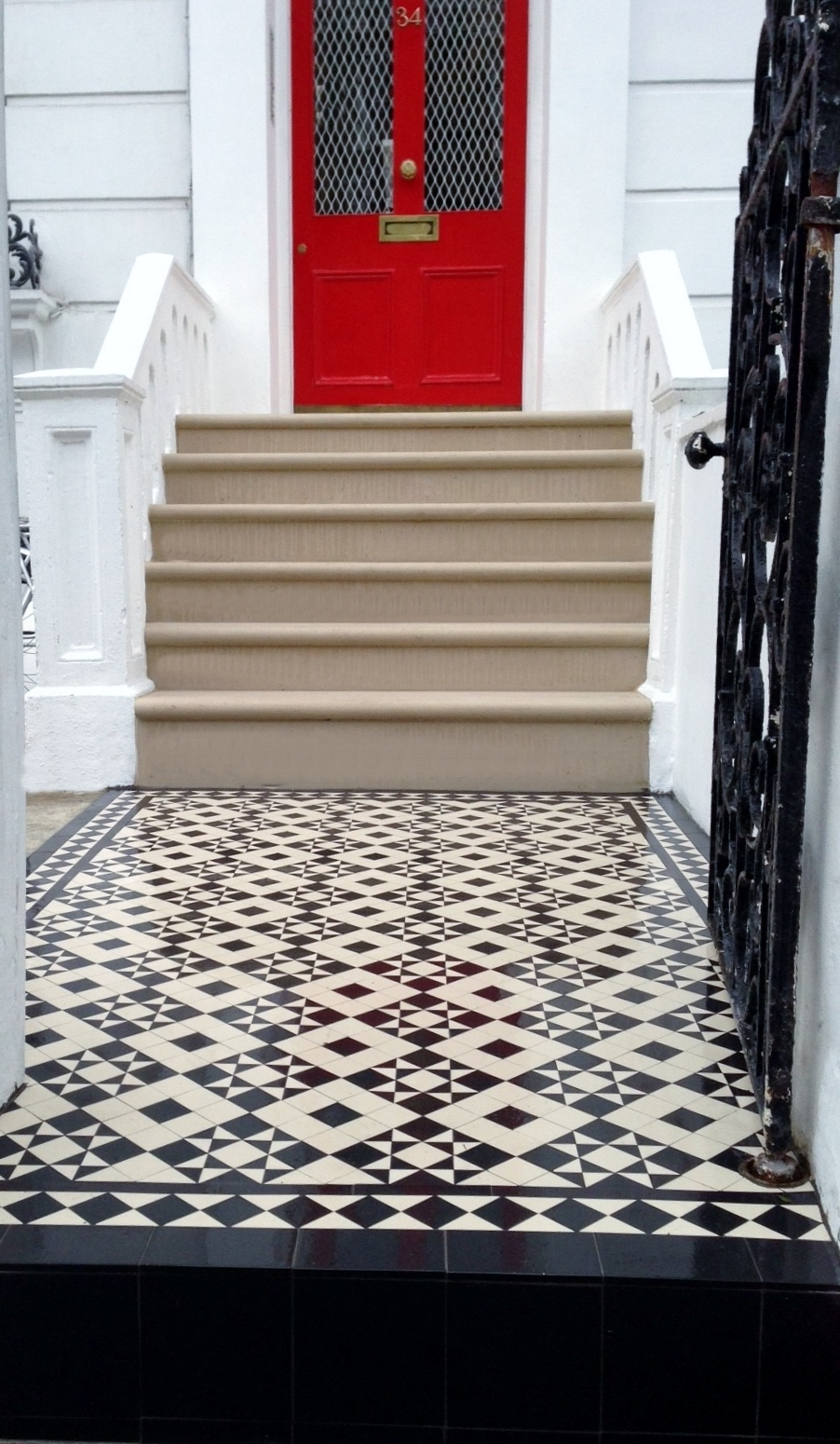 Portland stone bullnose steps and Livingston 50 black and white Victorian mosaic Notting Hill London