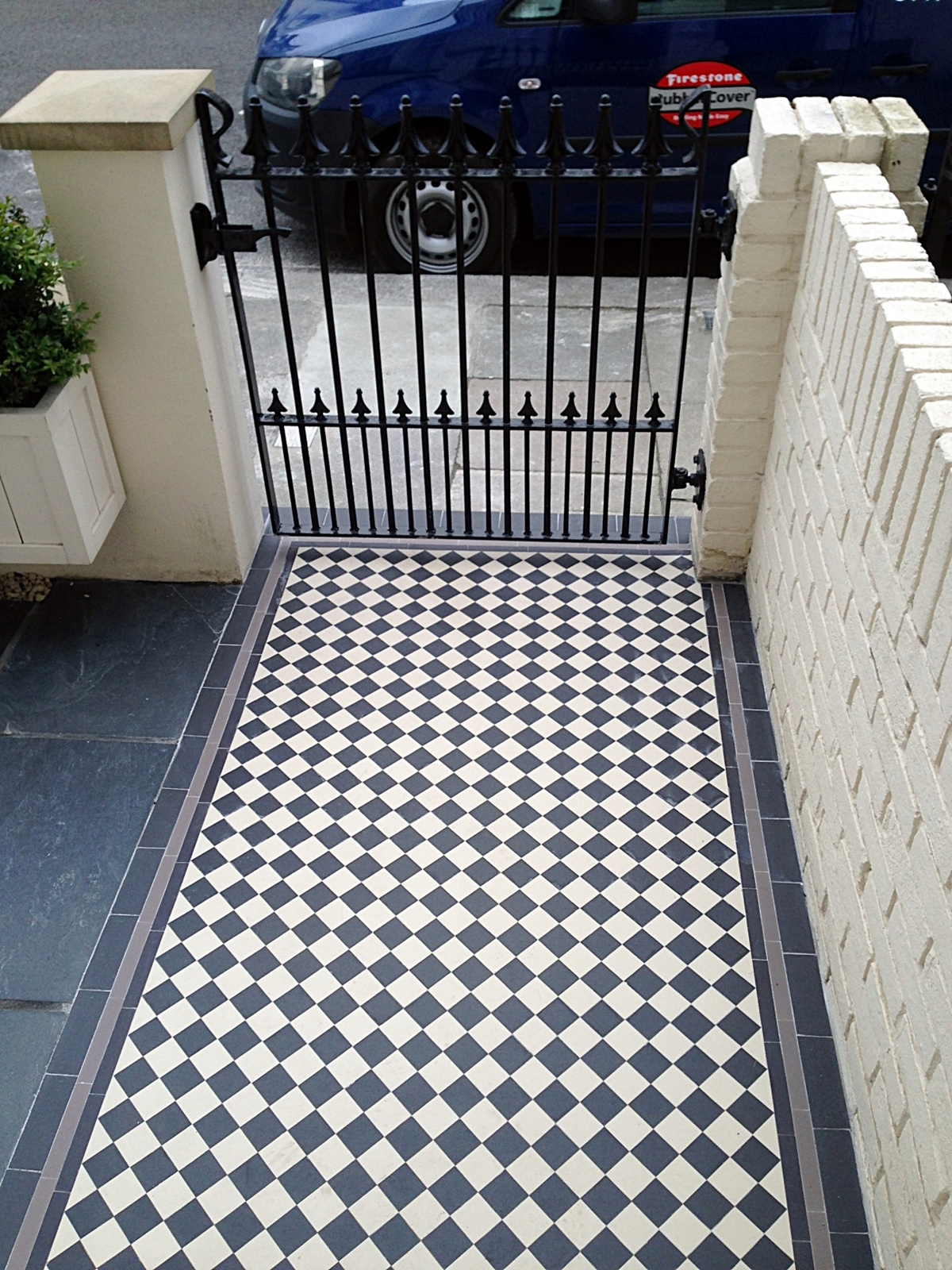 black and white with grey tile victorian mosaic tile path fulham and chelsea london