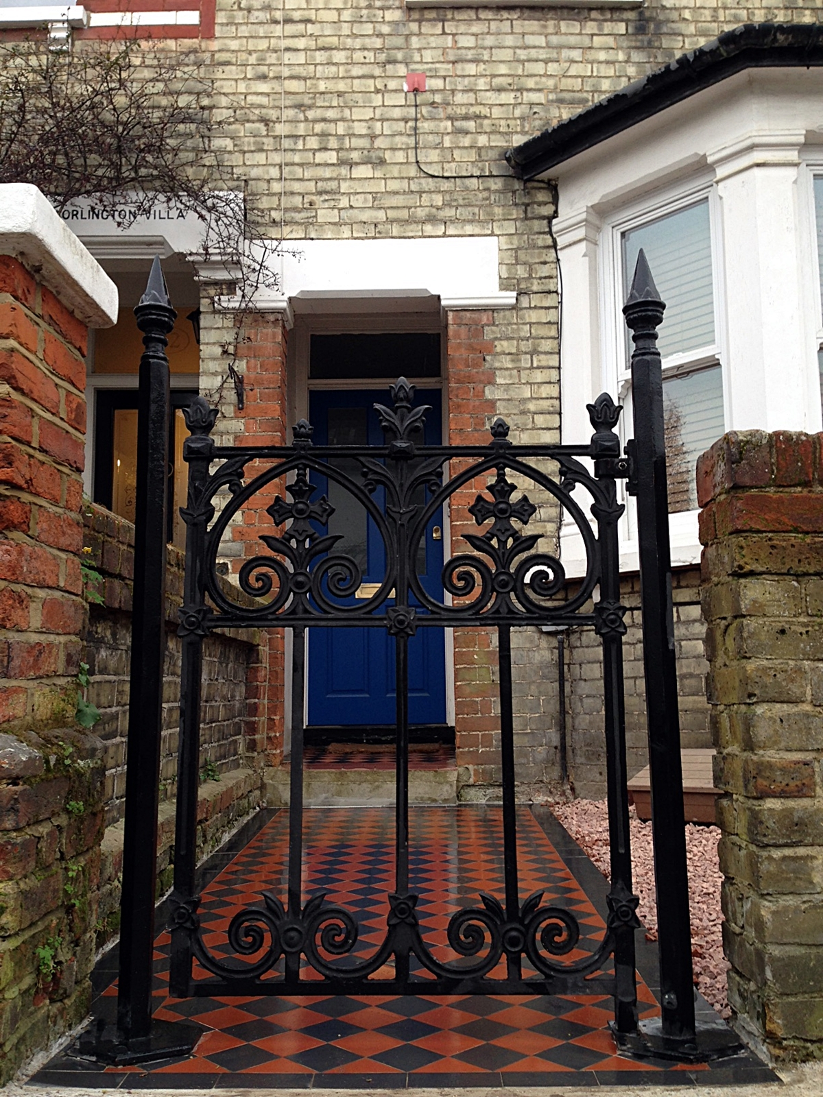 front garden builders victorian heritage style mosaic wrought iron rail and gate brick wall surbiton wimbledon and south west london