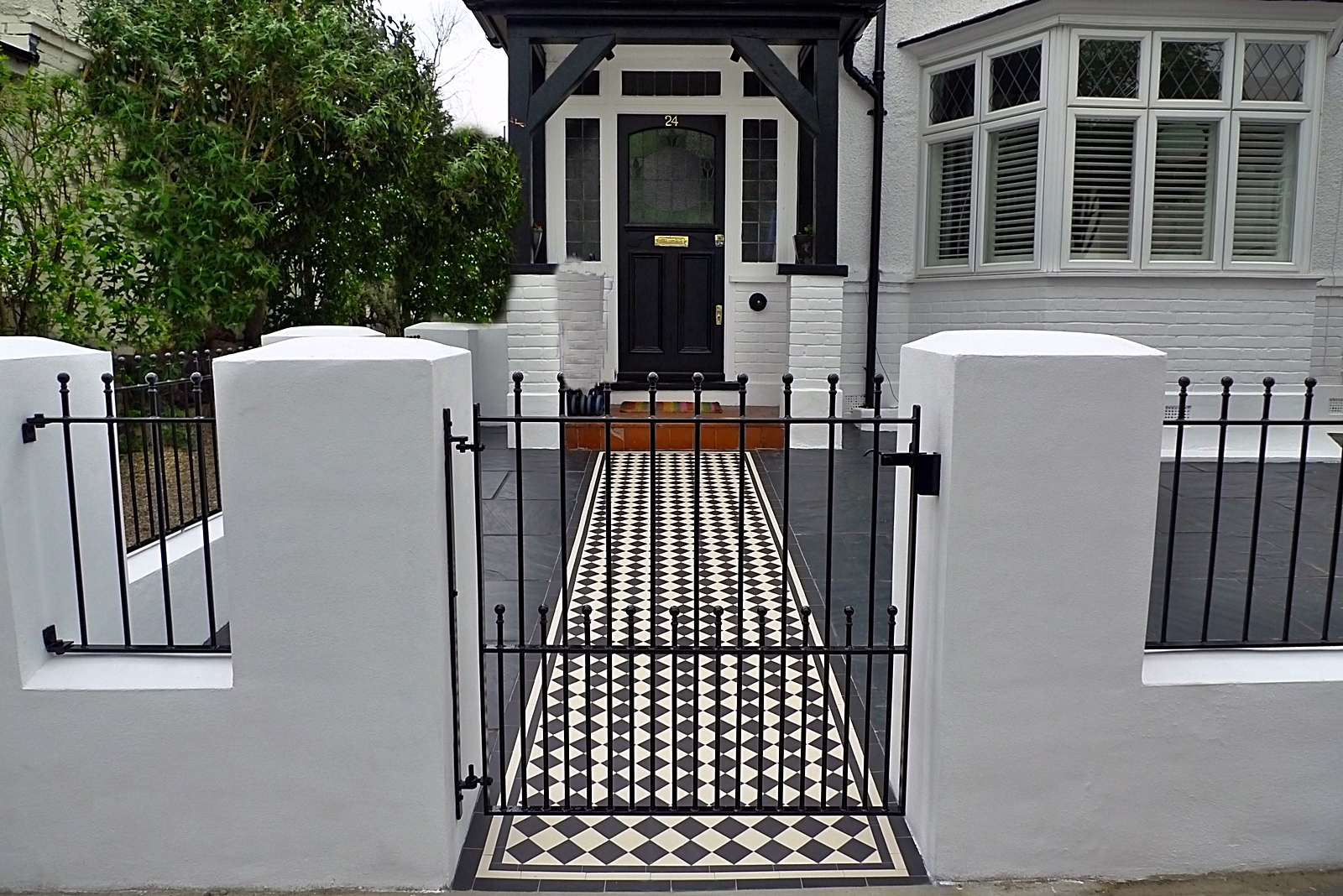 front garden render block wall and gate with victroain mosaic tile path richmond wandsworth sheen london