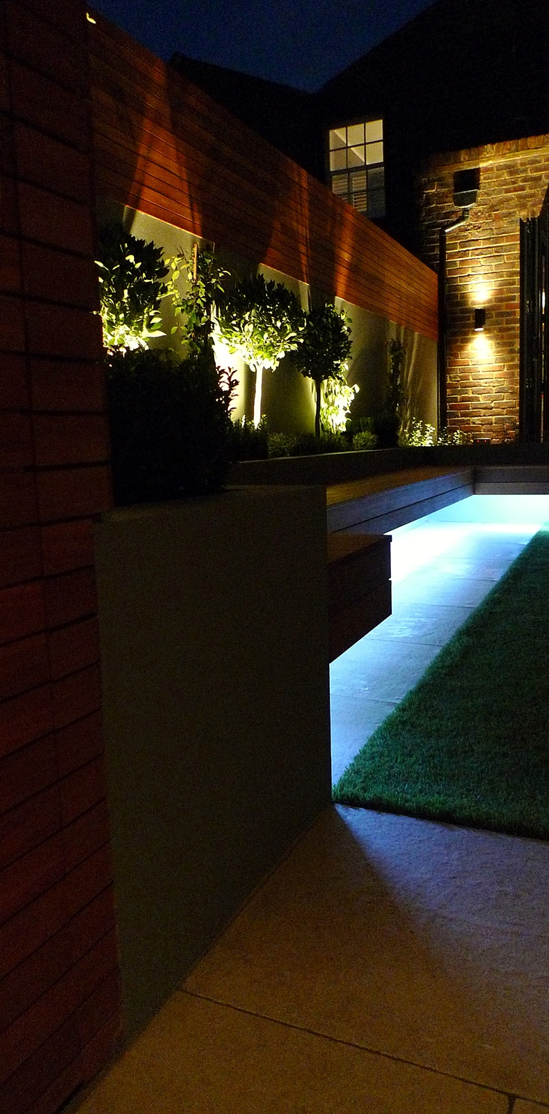 led strip lighting floating bench raised beds with planting and spotlights clapham balham battersea london