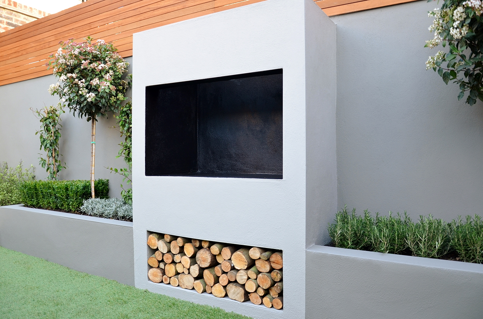 outdoor fireplace bbq fire raised beds modern garden
