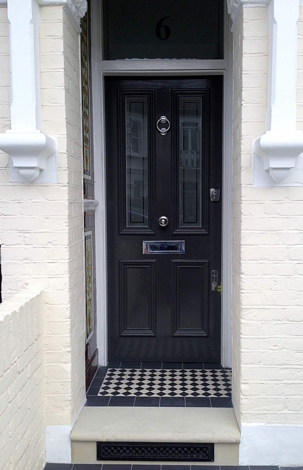 victorian front door york stone bull nose entrance stone victroian mosaic tile fulham chelsea london