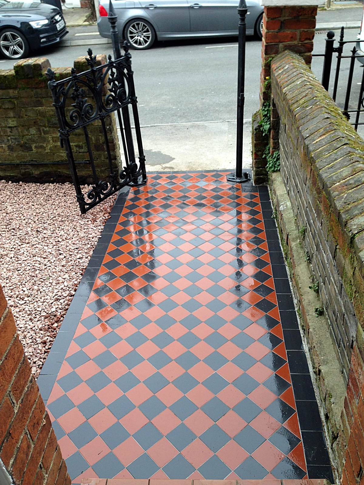 victorian red and black mosaic tile path surbiton wimbledon london
