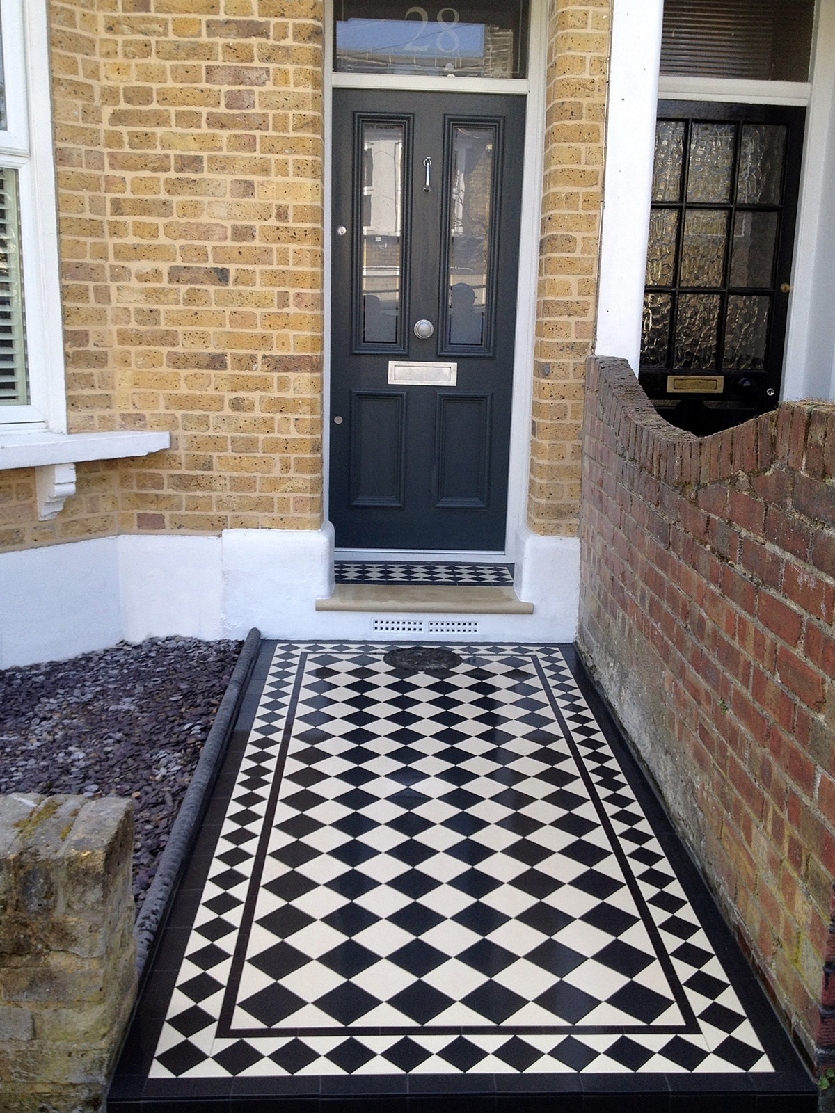 100mm 4 inch black and white tiles with 70mm 3 inch diamond border victorian mosaic tile path greenwich london