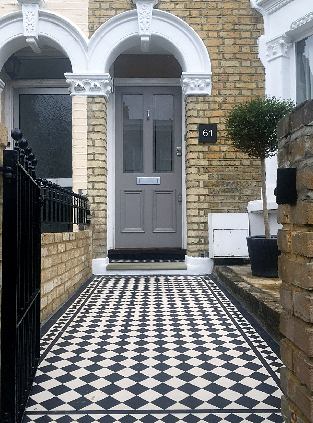 70mm black and white victorian mosaic tile path with 50mm two inch diamond border dulwich and peckham london