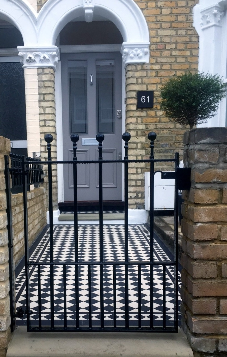 Captivating ... East Dulwich Front Garden Metal Gate Yellow Brick Garden Wall Black And  White Victorian Mosaic London ...