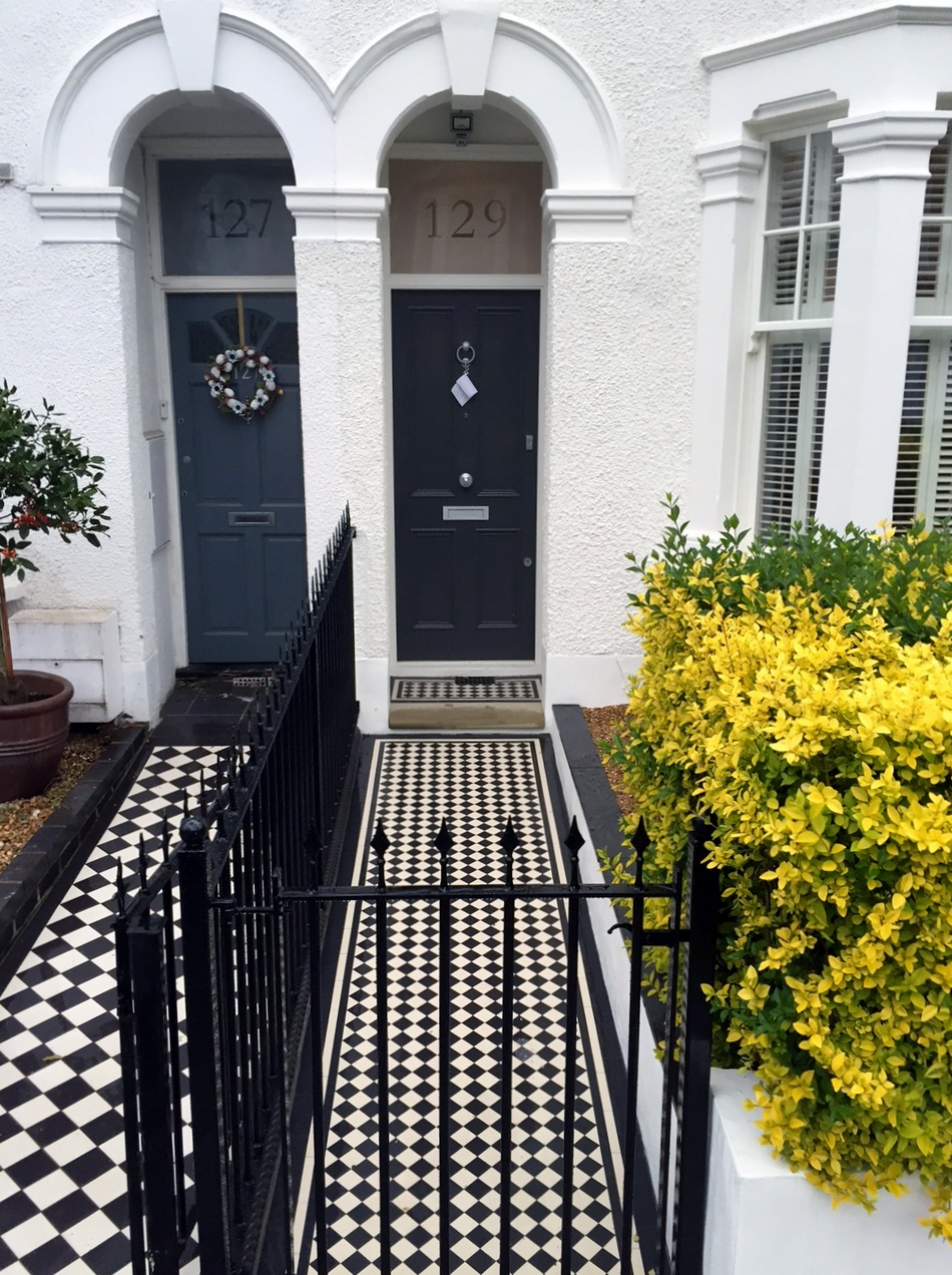 balham clapham battersea london  victorian mosaic tile path with metal rail and gate yorkstone entrance stone