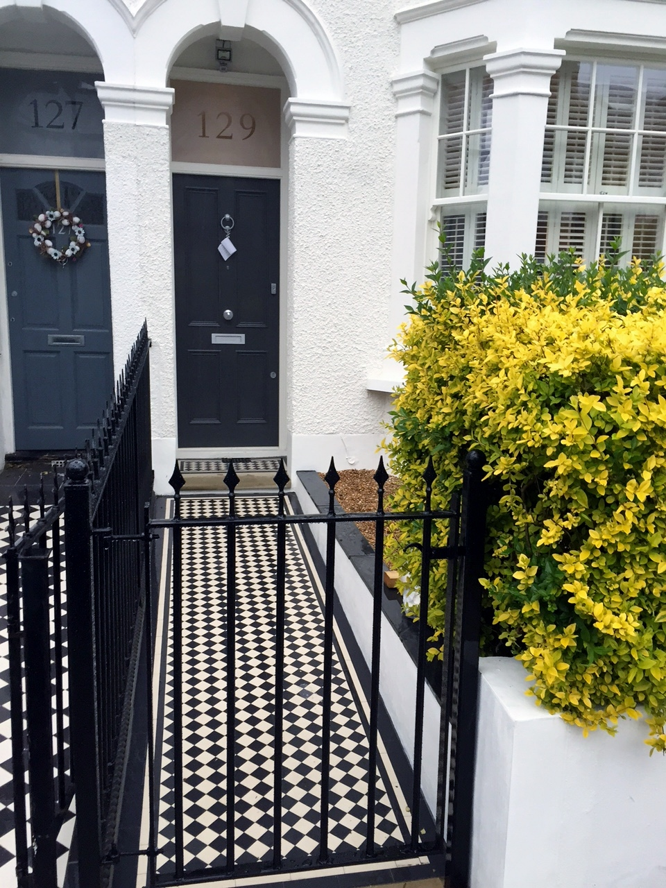 balham clapham battersea victorian mosaic tile path with metal rail and gate yorkstone entrance stone